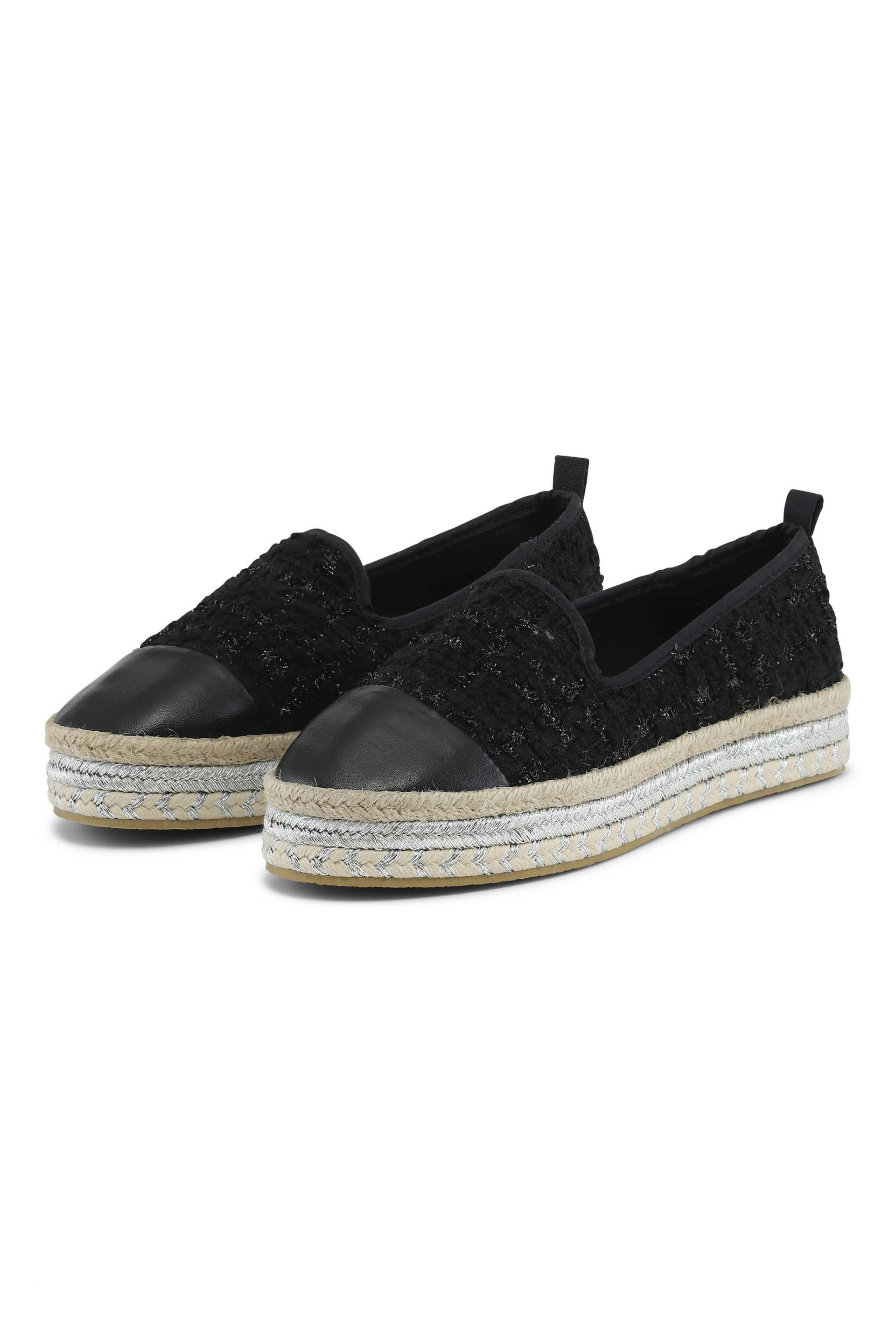 Black quiltet espadrillos with silver details