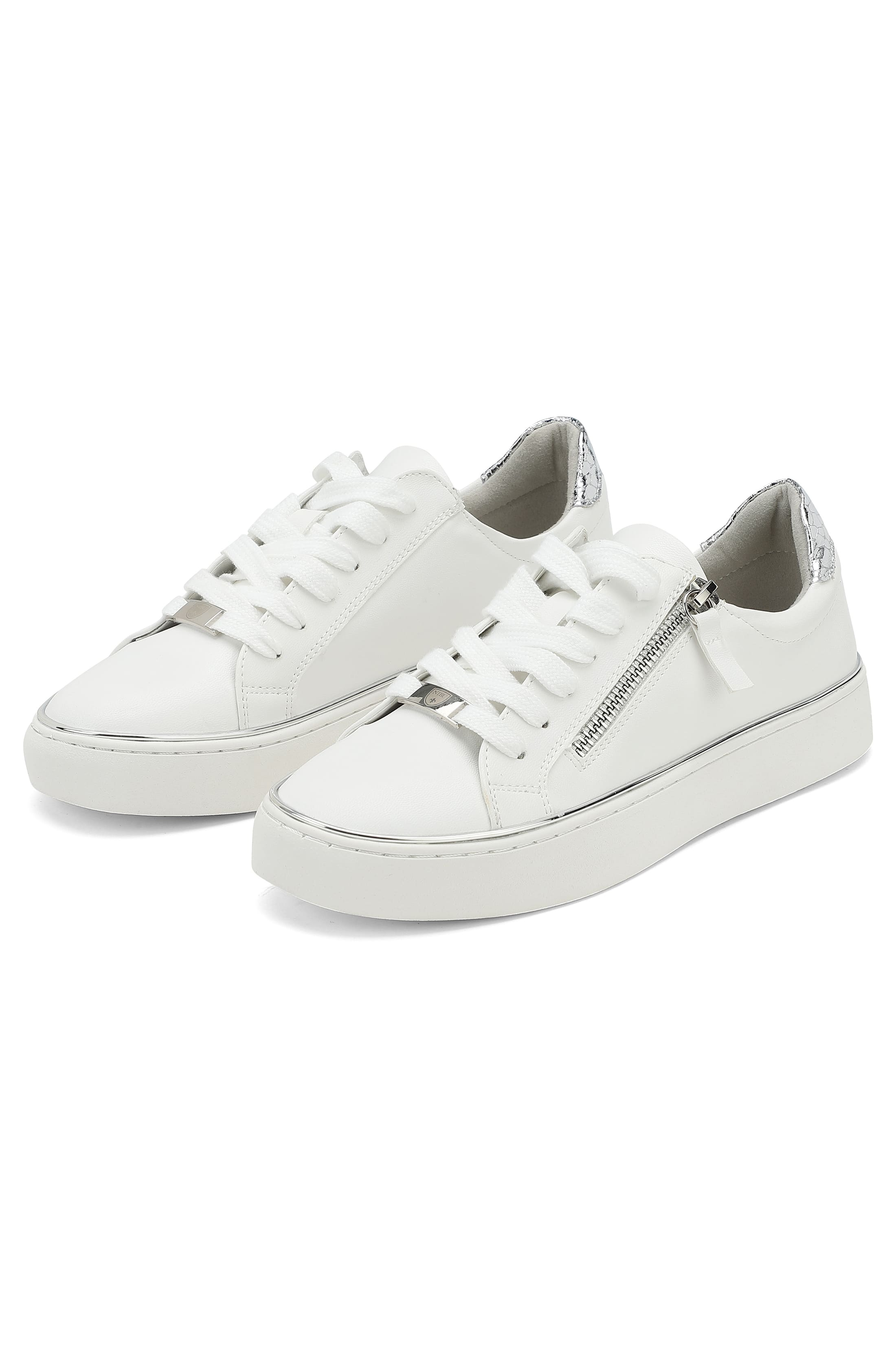 White sneakers with silver-coloured zipper