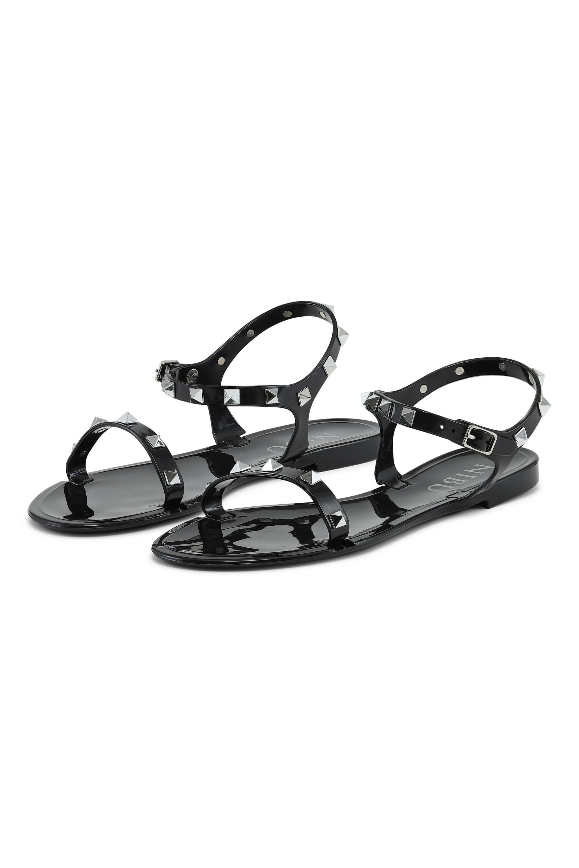 Black sandals with silverlook details