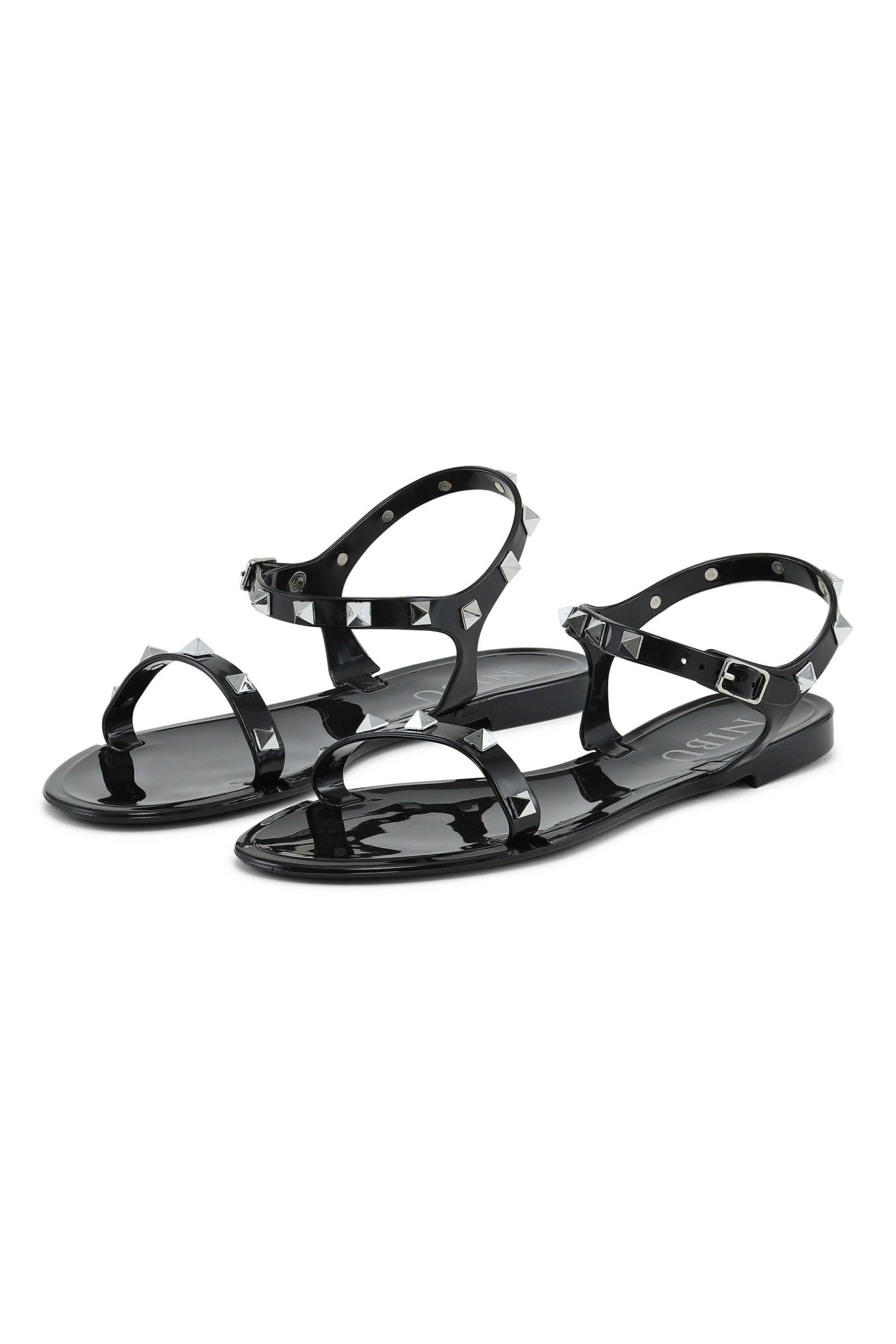 Black sandals with silverlook details
