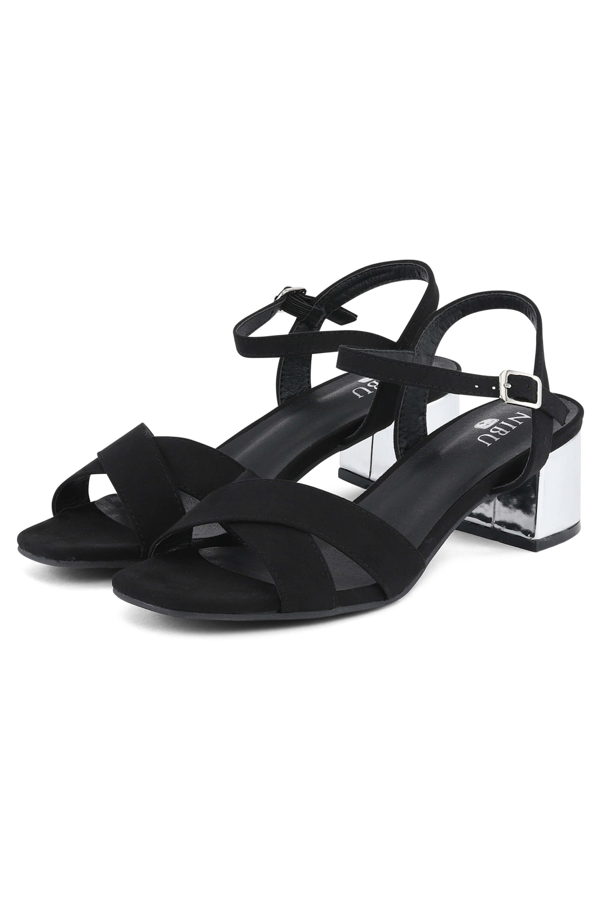 Black sandals with silver-coloured heels