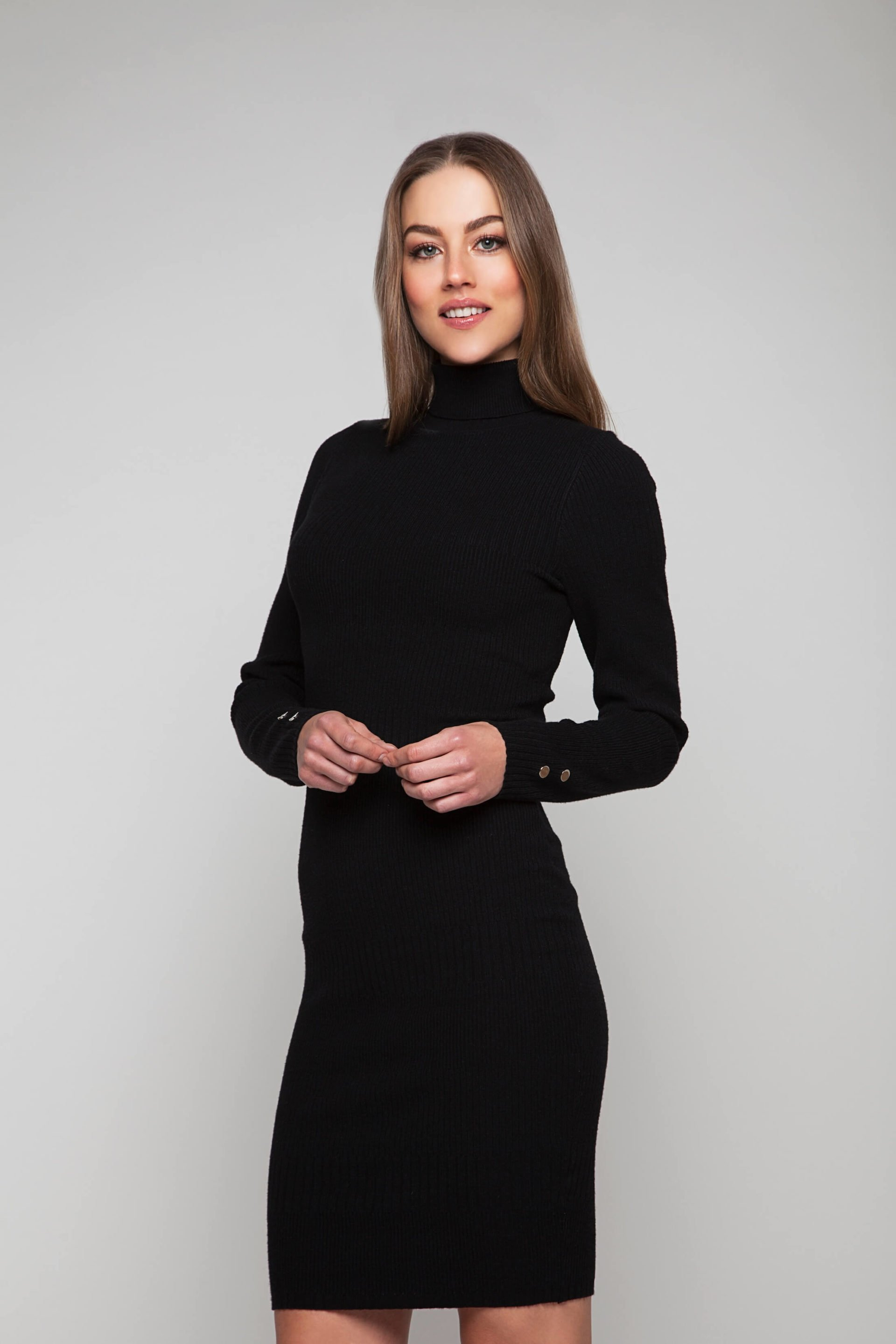 Soft black knitted dress with silver-colour buttons