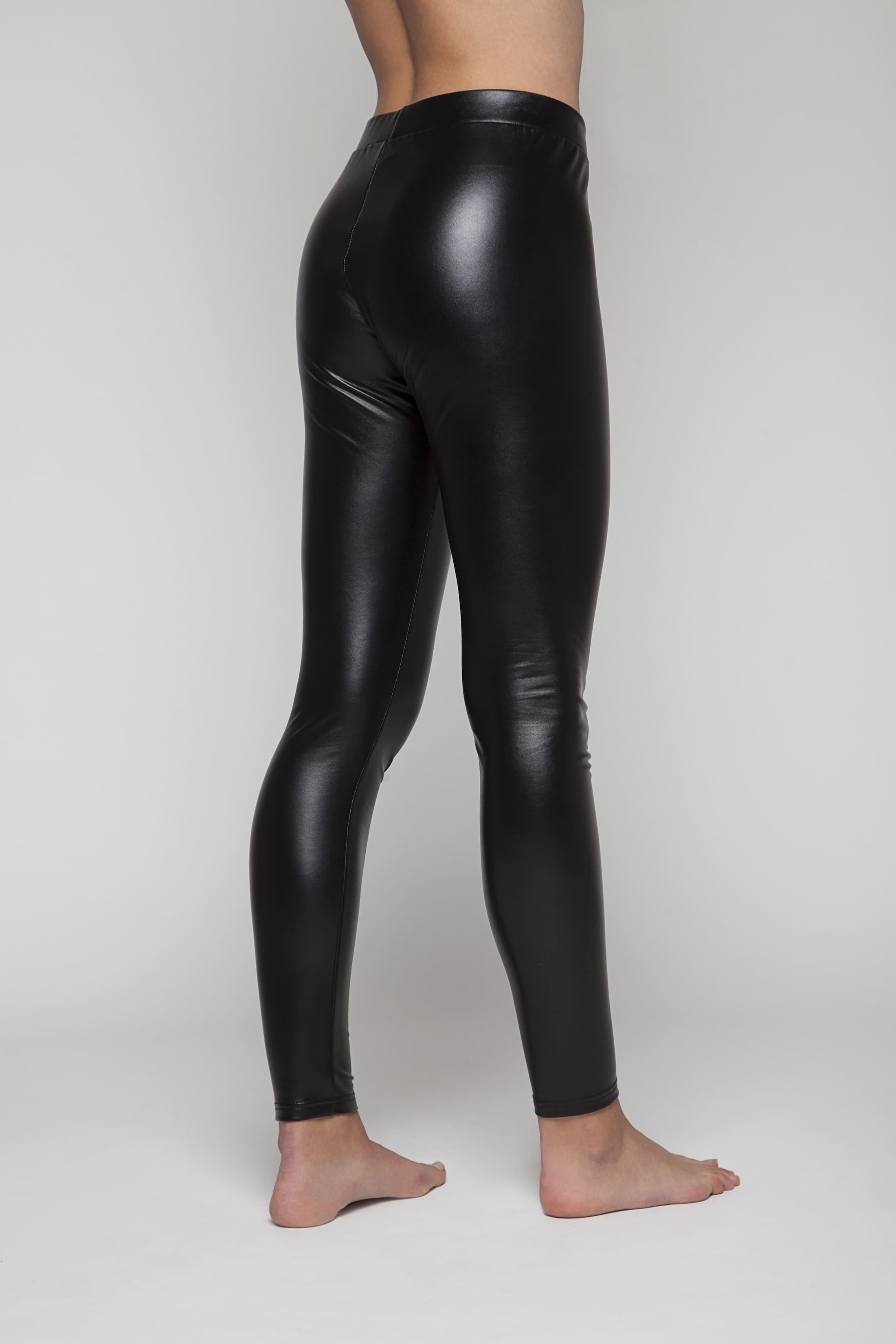 Black faux leather stretch leggings