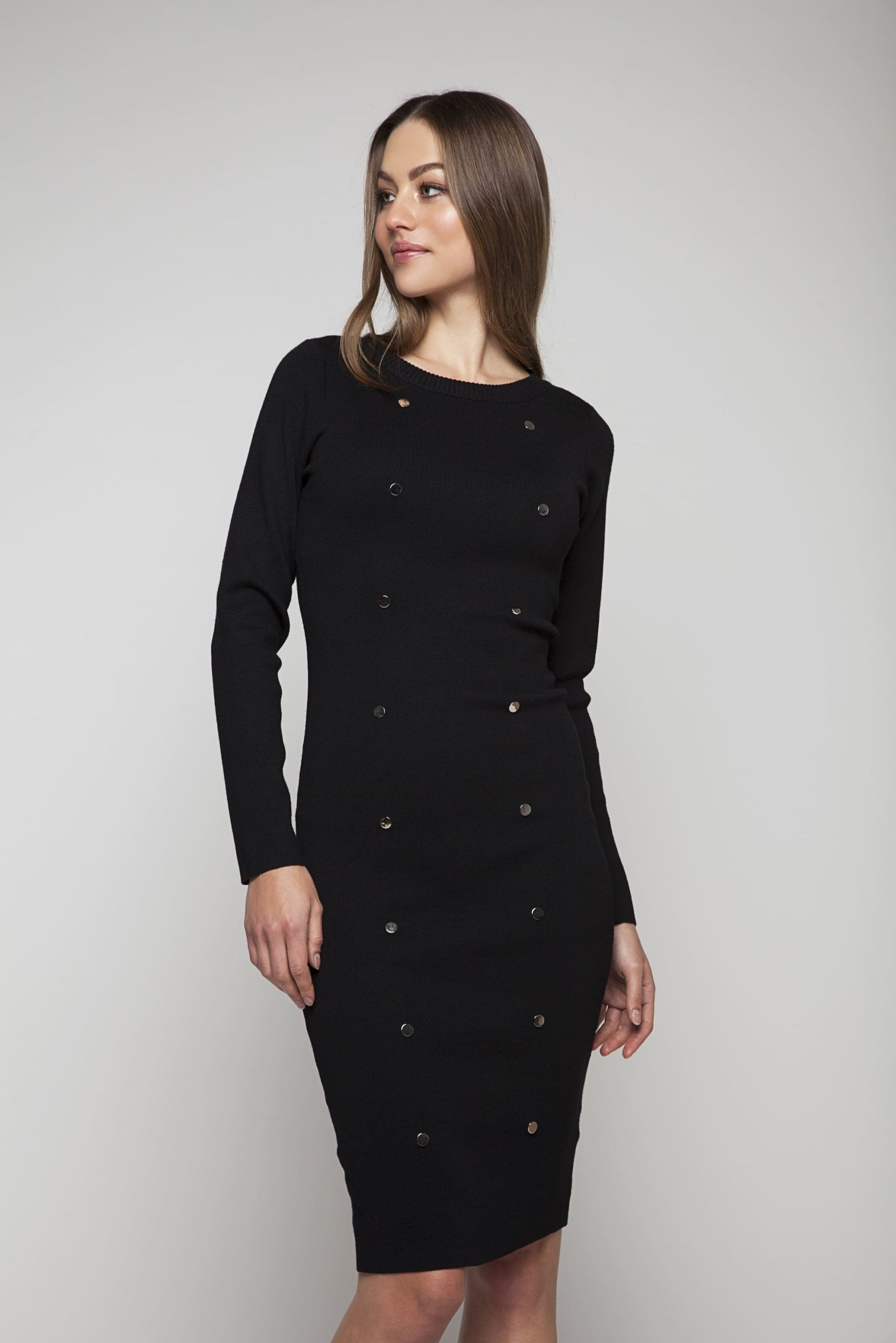 Knitted dress with silver buttons and waistband