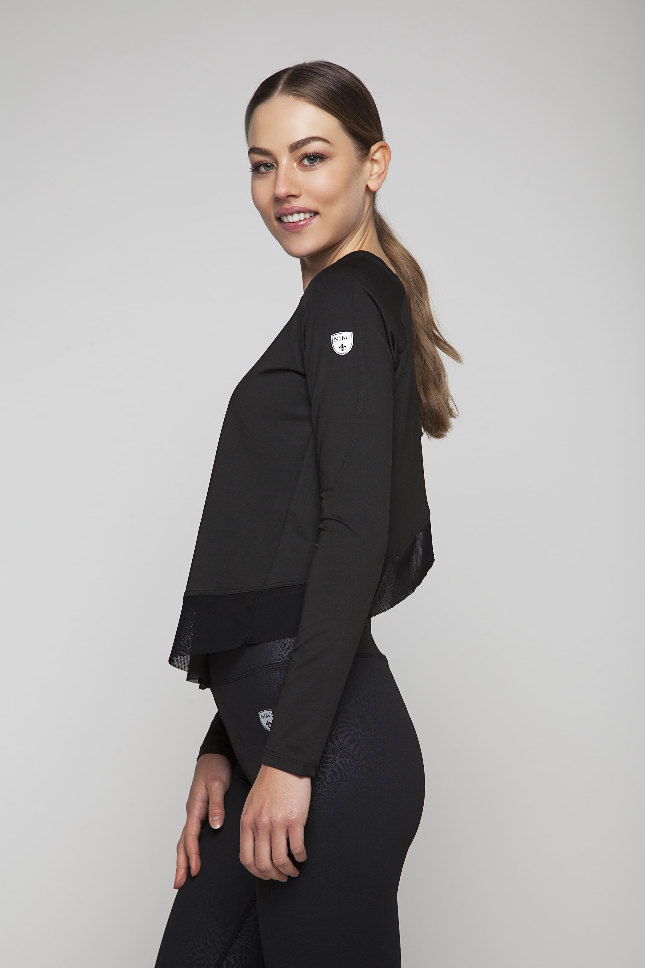 Black soft training shirt with cross-over back