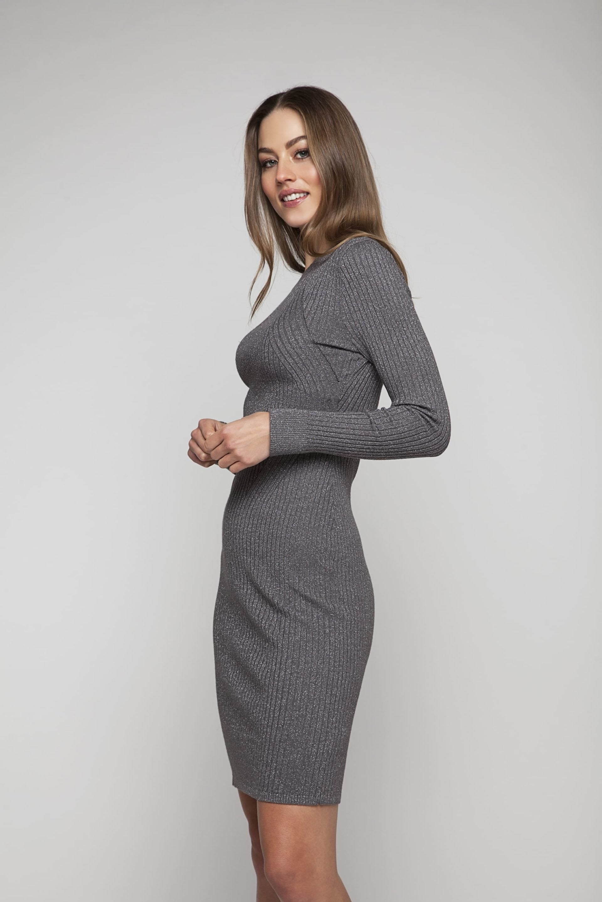 Grey knitted dress with glitter