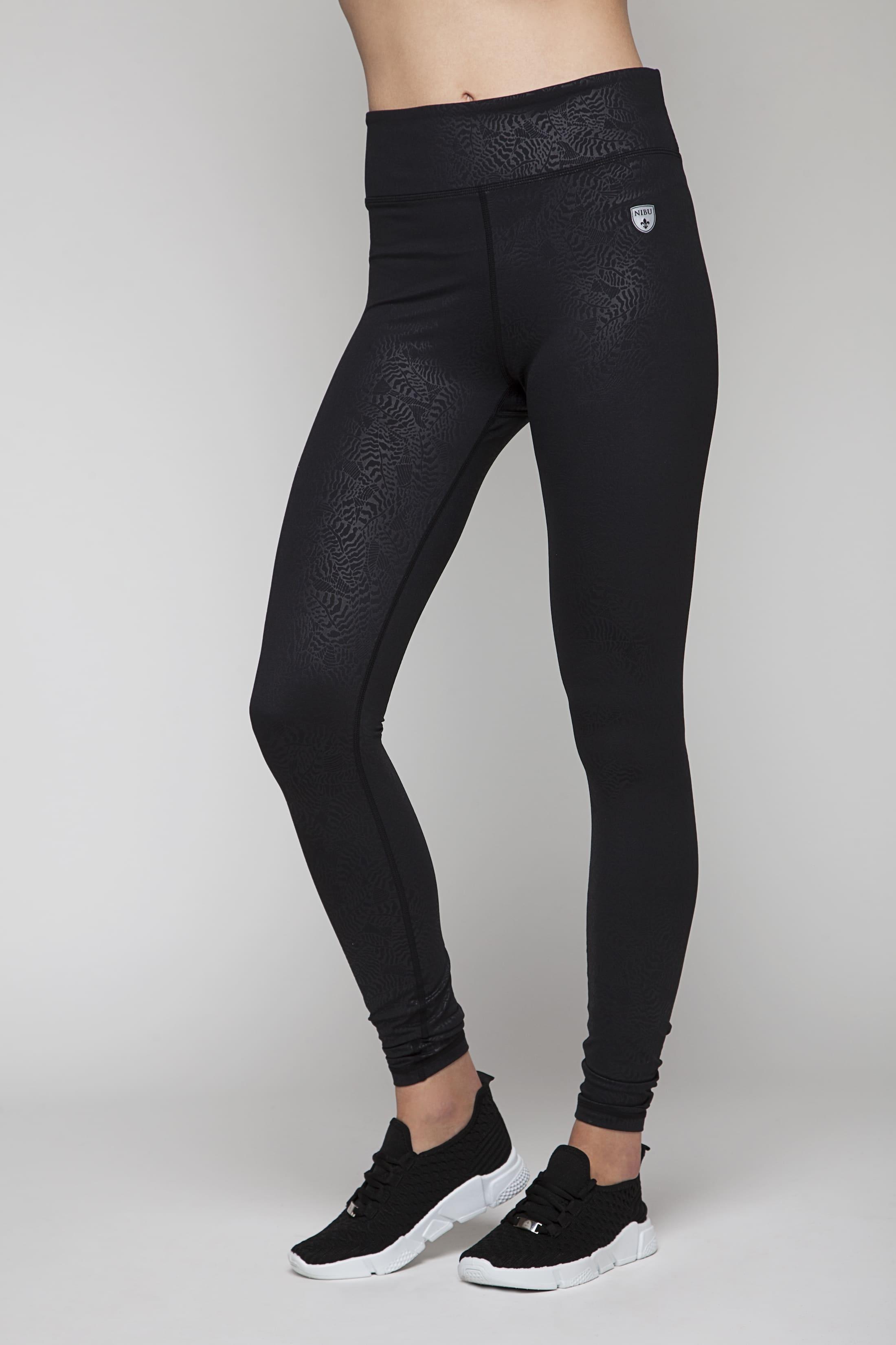 Black soft sport tights with pattern (squat safe)