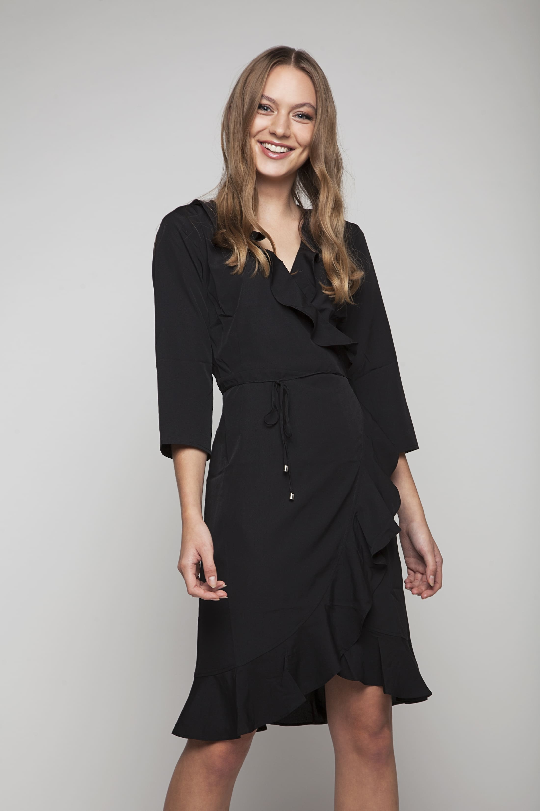Black wrapdress with silver string aglets