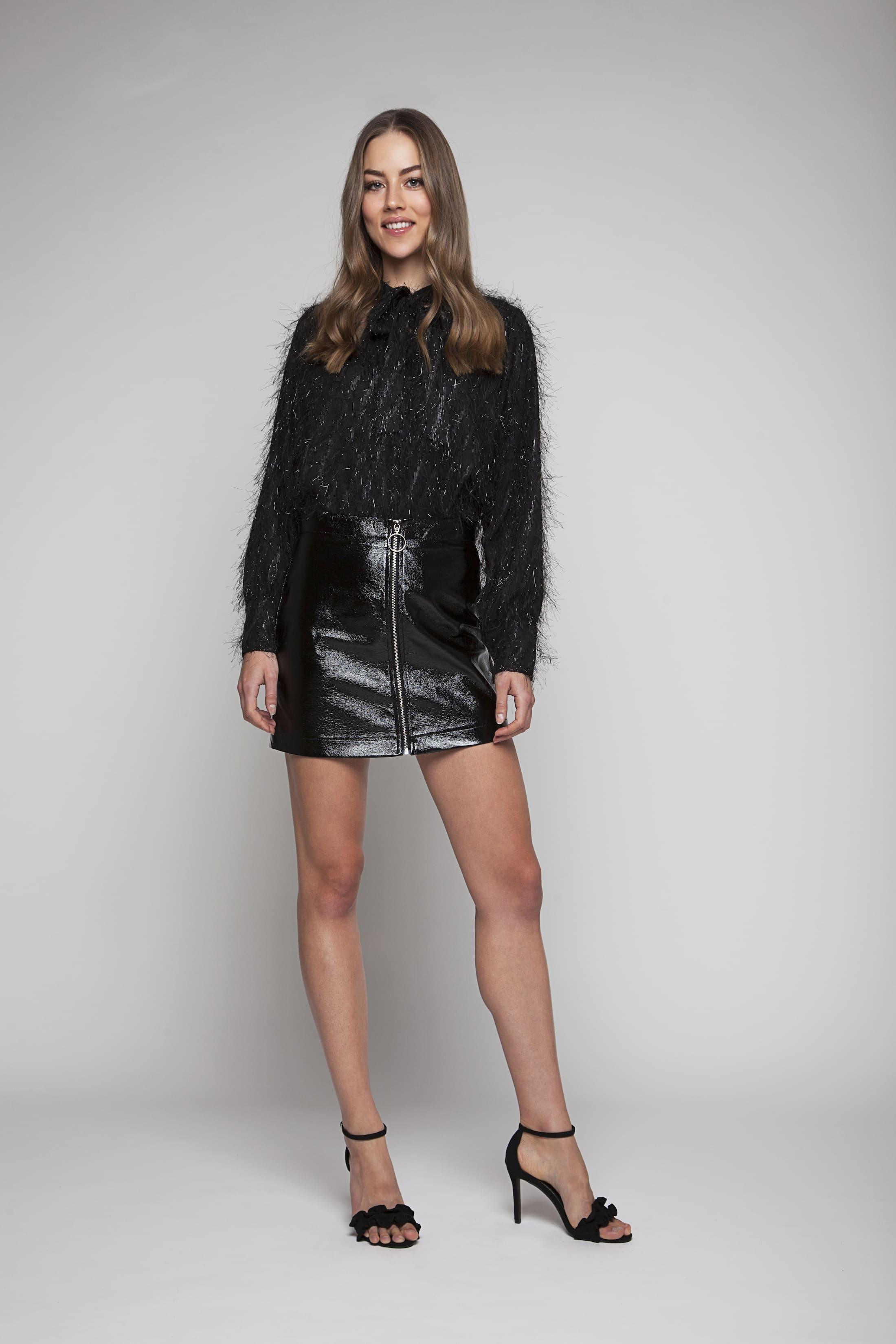 Black shiny skirt with zipper