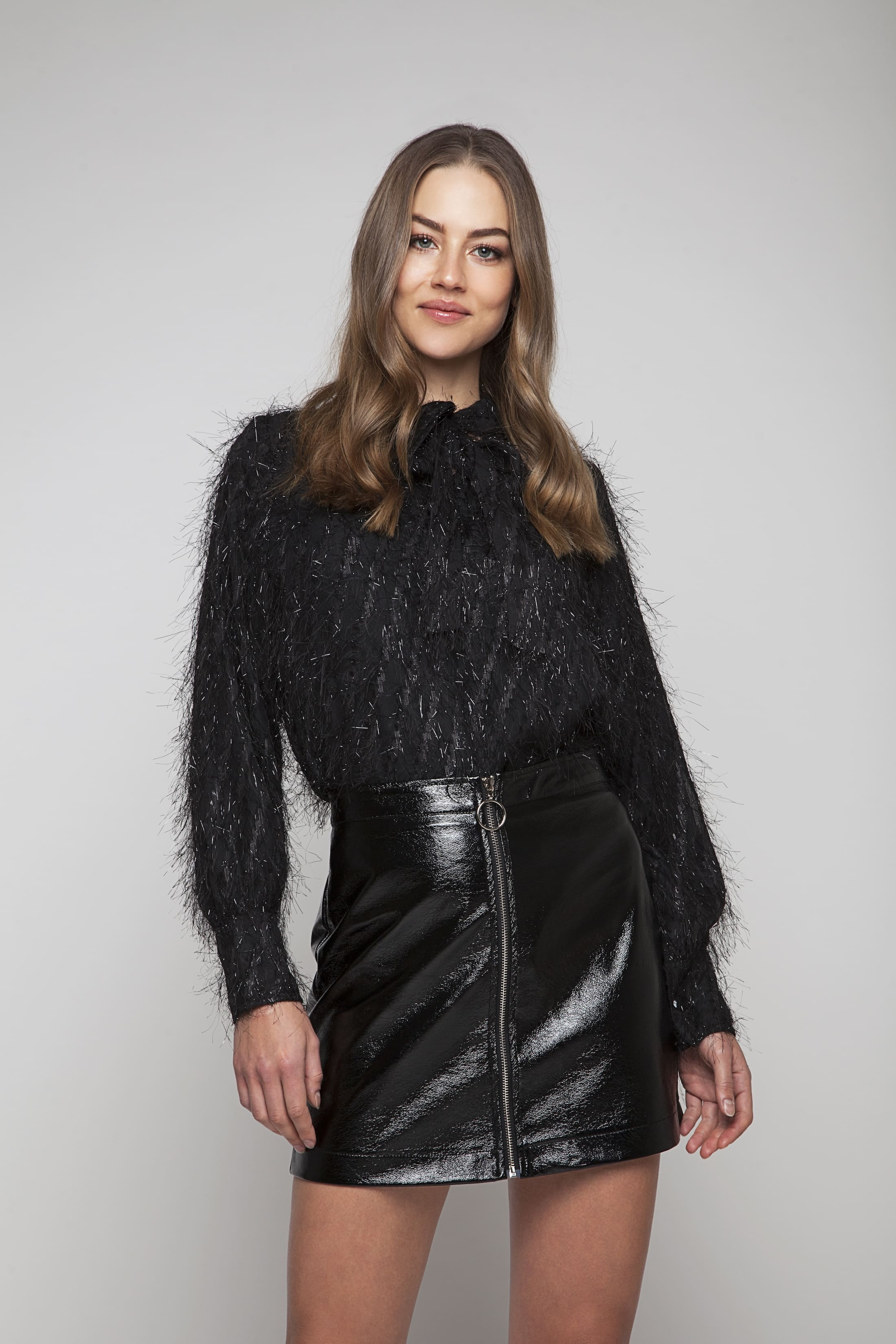 Black glitter blouse with bow