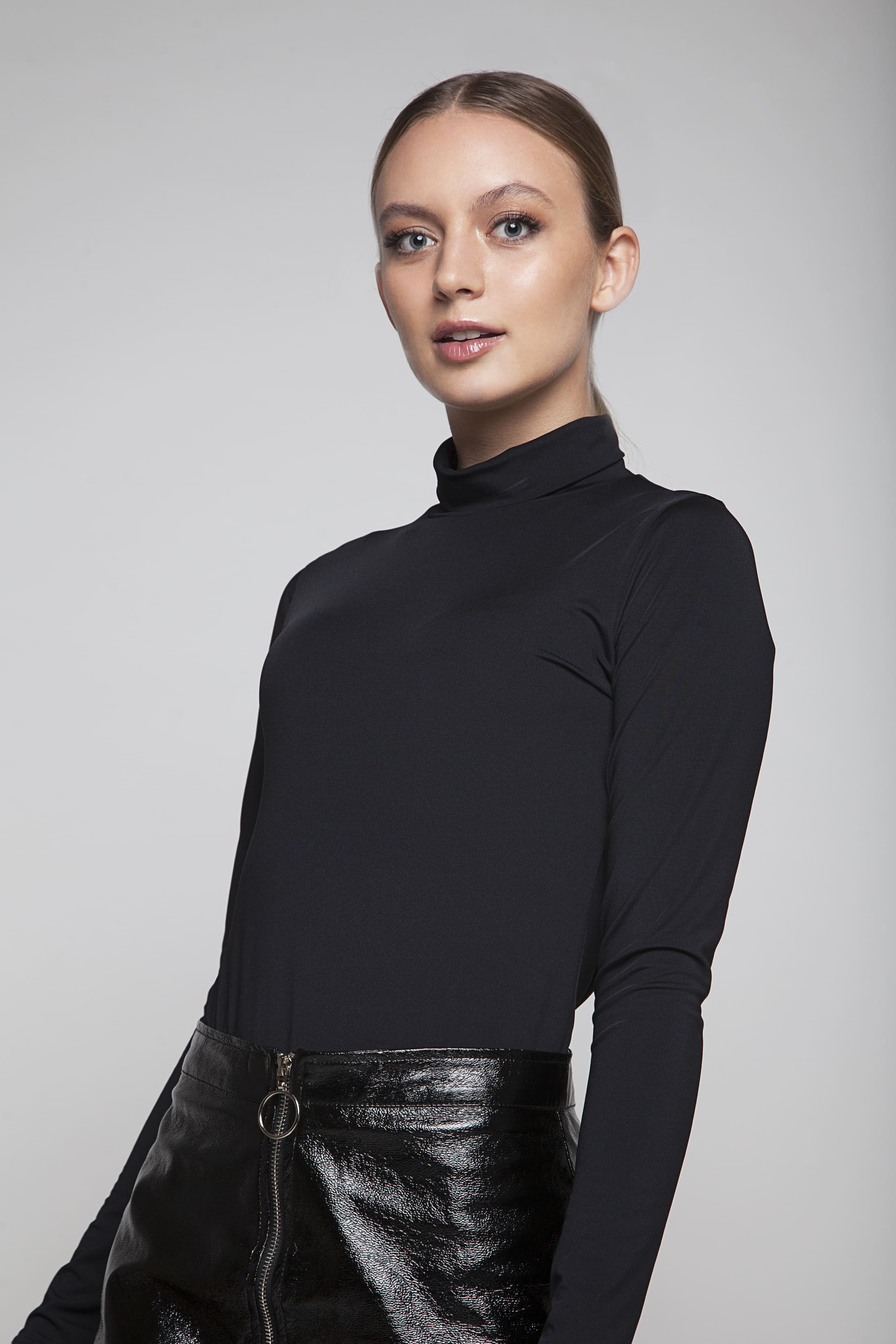 Black soft bodysuit with turtle neck
