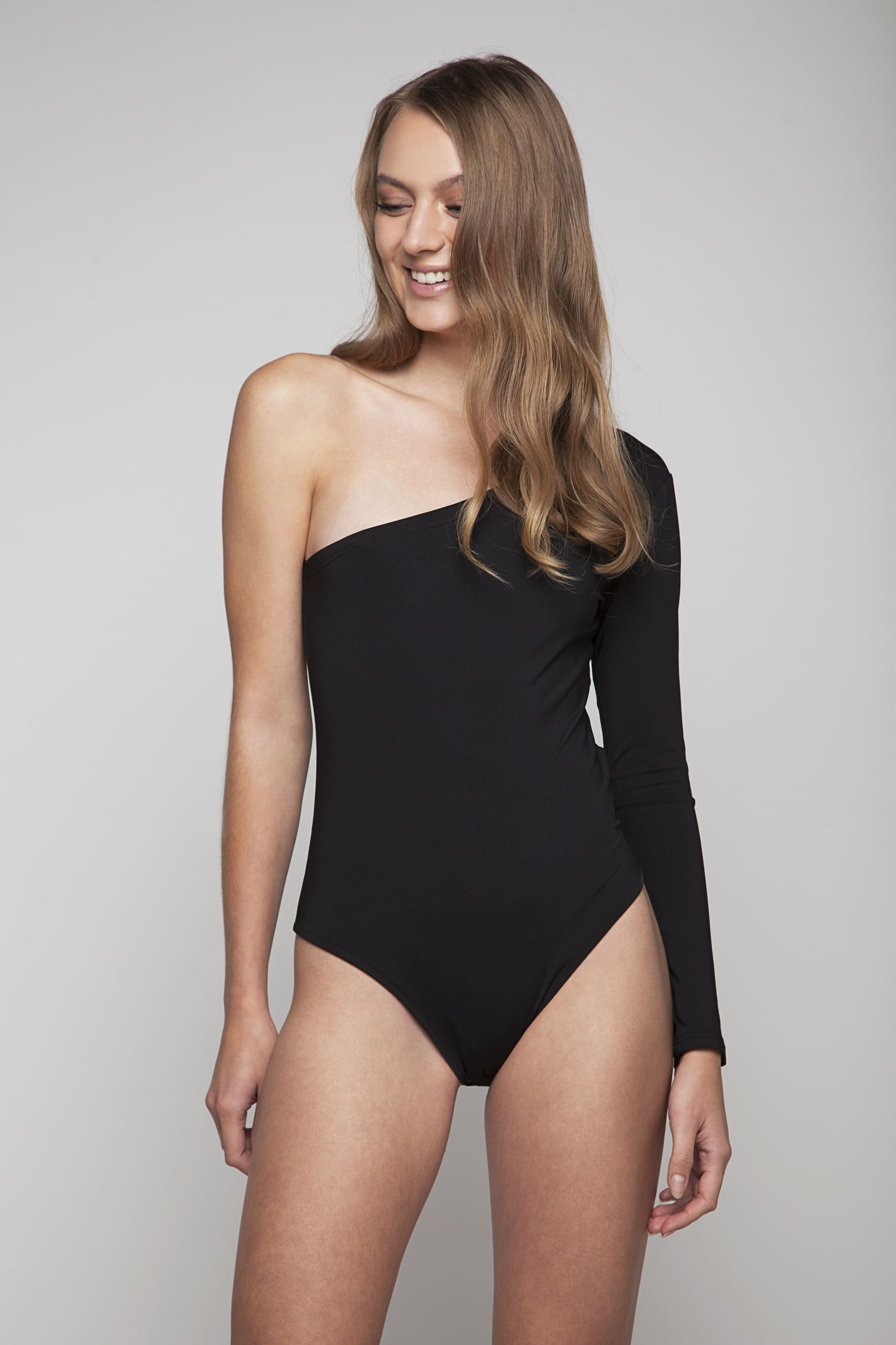 Black asymmetric bodysuit