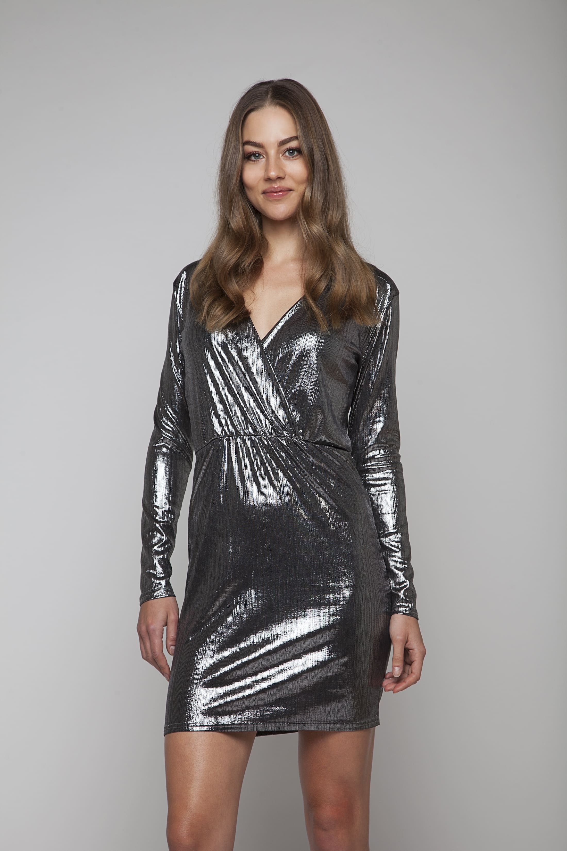 Silver shimmering evening dress