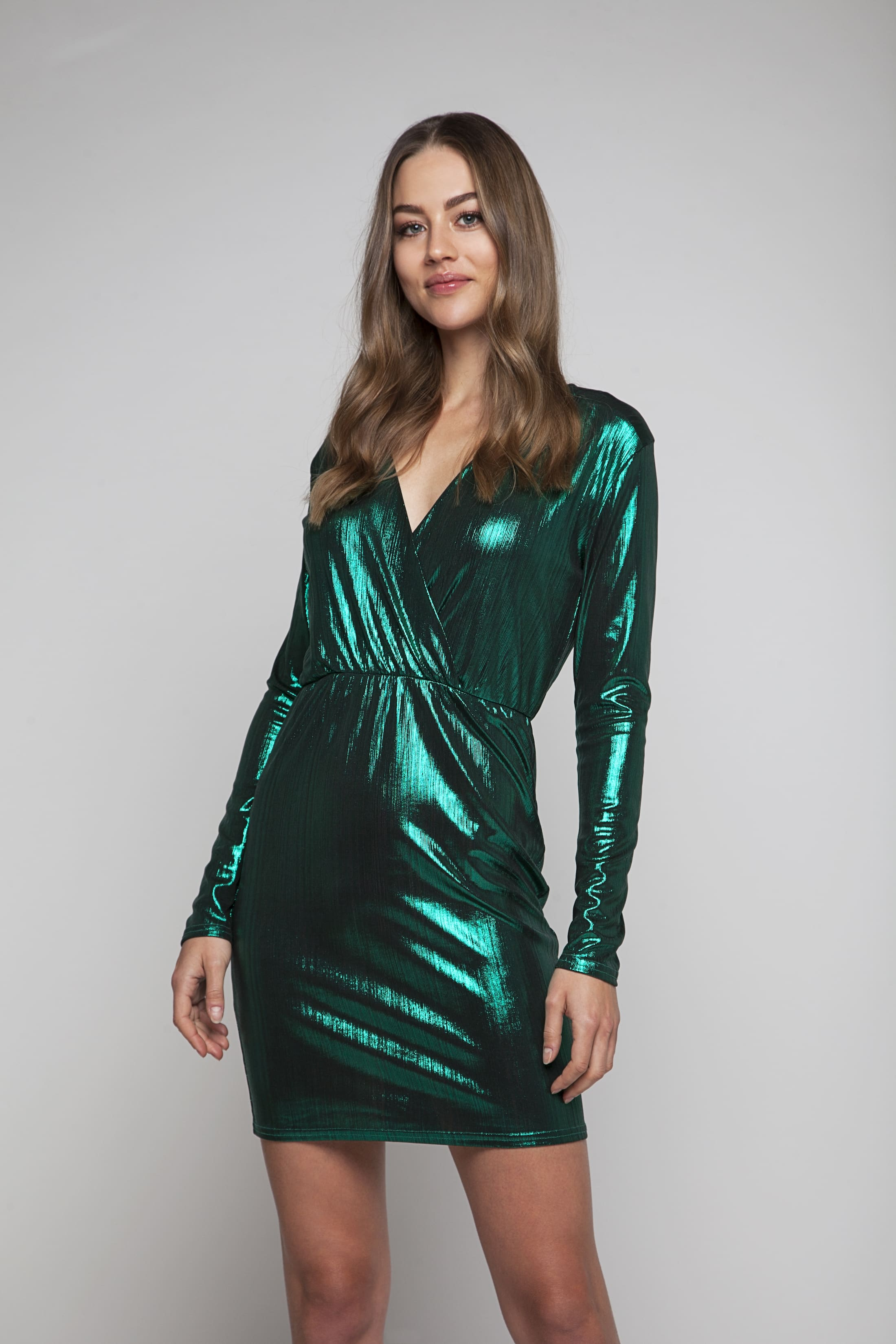 Green shimmering evening dress