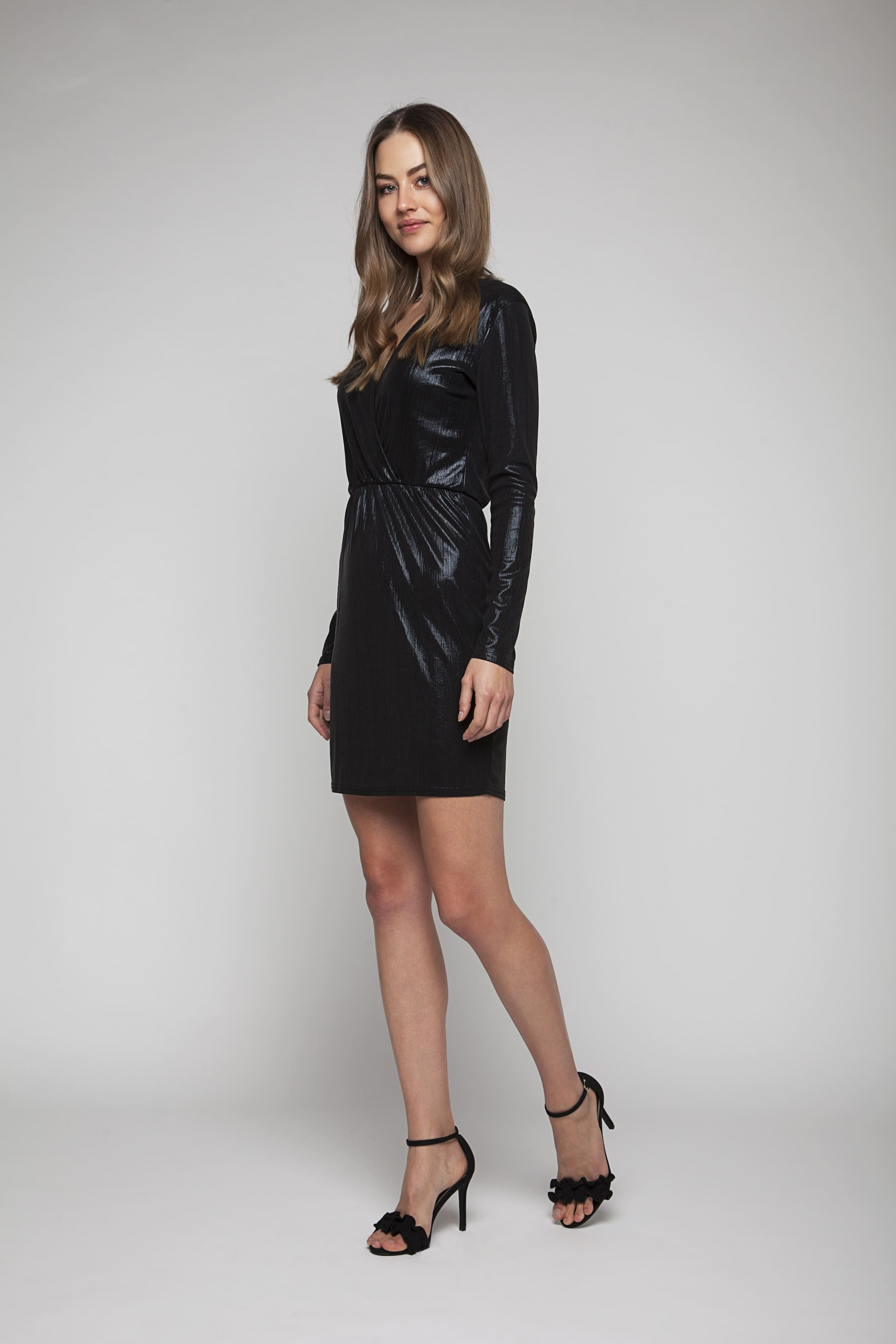 Black shimmering evening dress