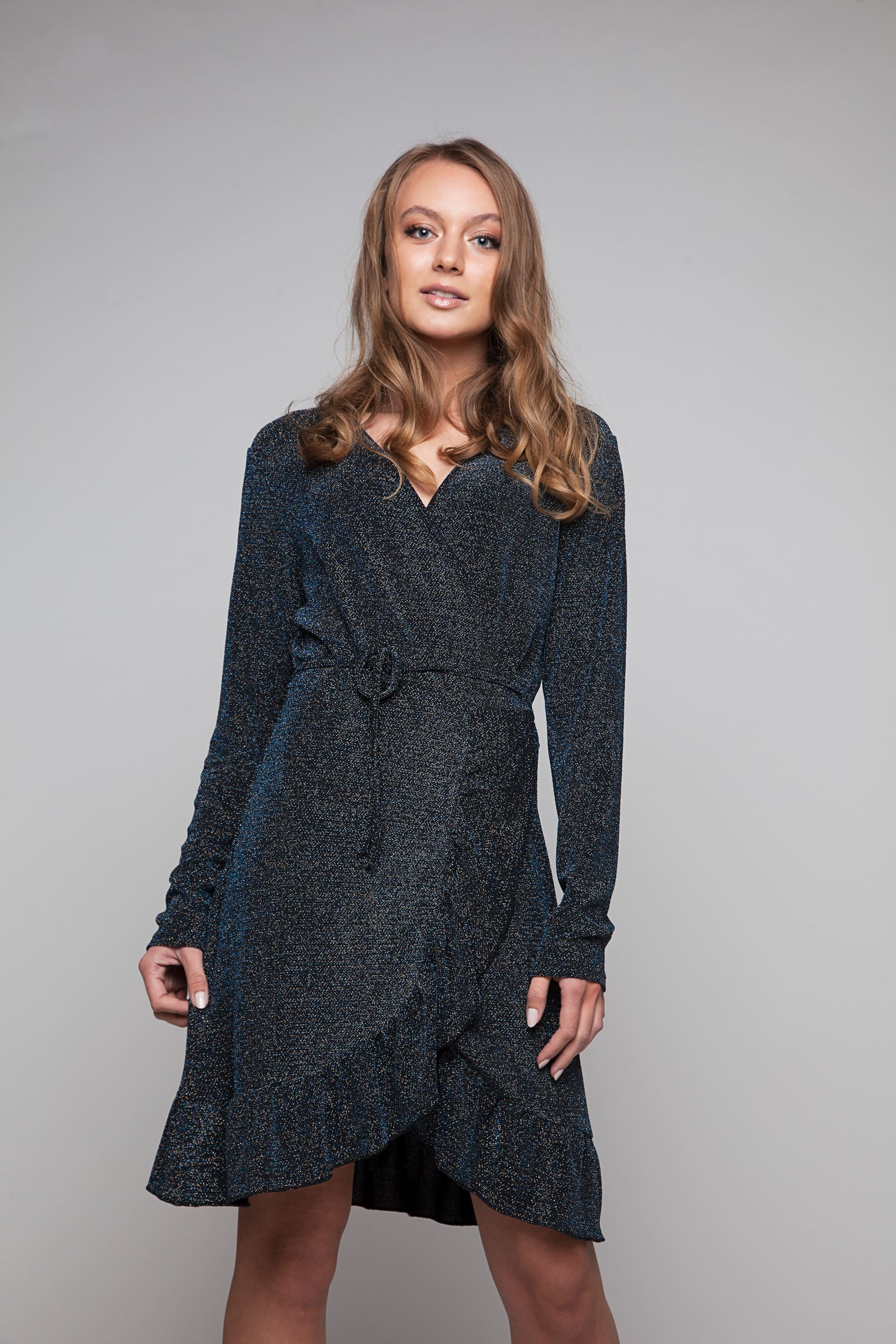 Dark blue glitter wrap dress