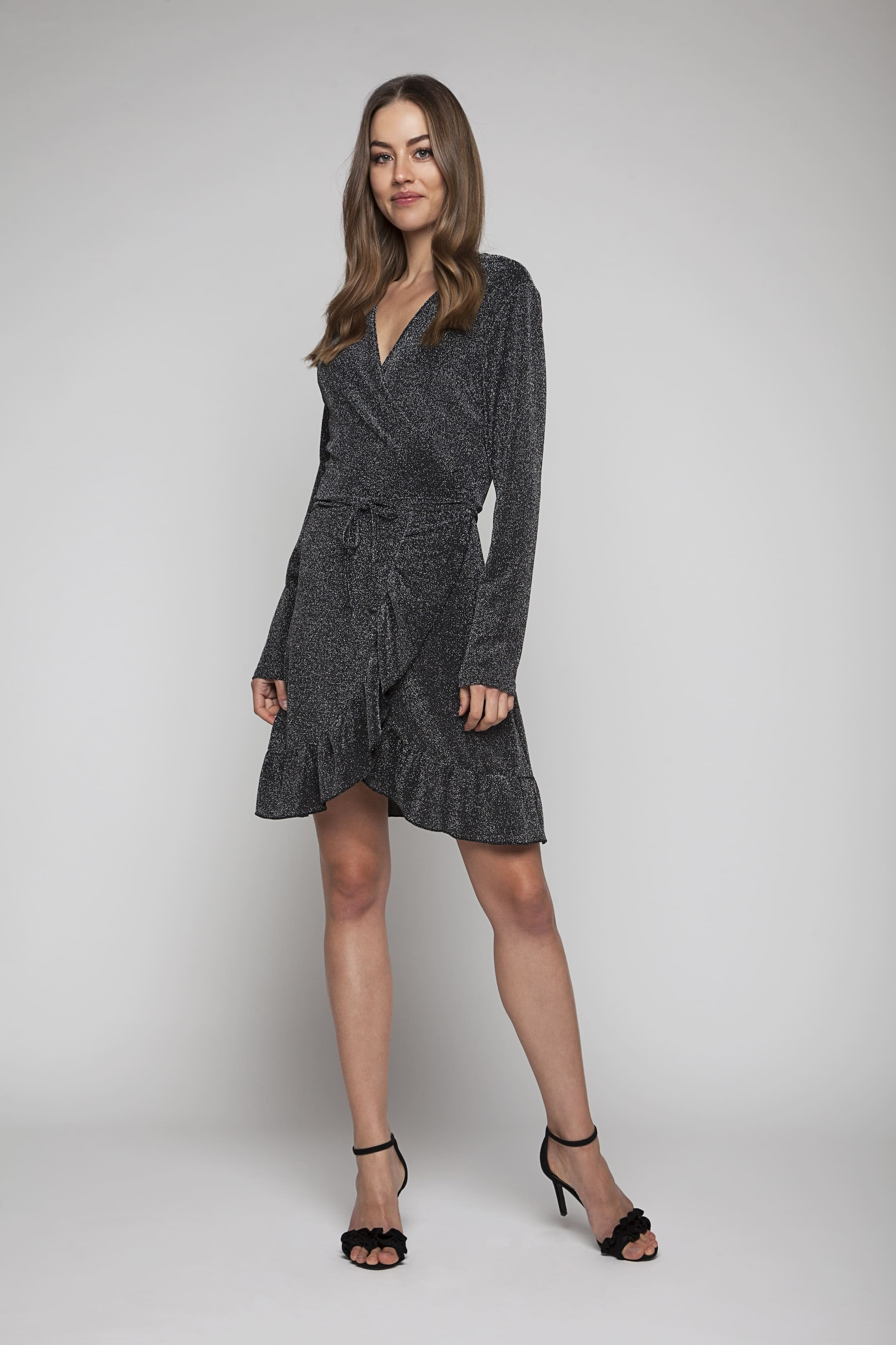 Dark silver glitter wrap dress