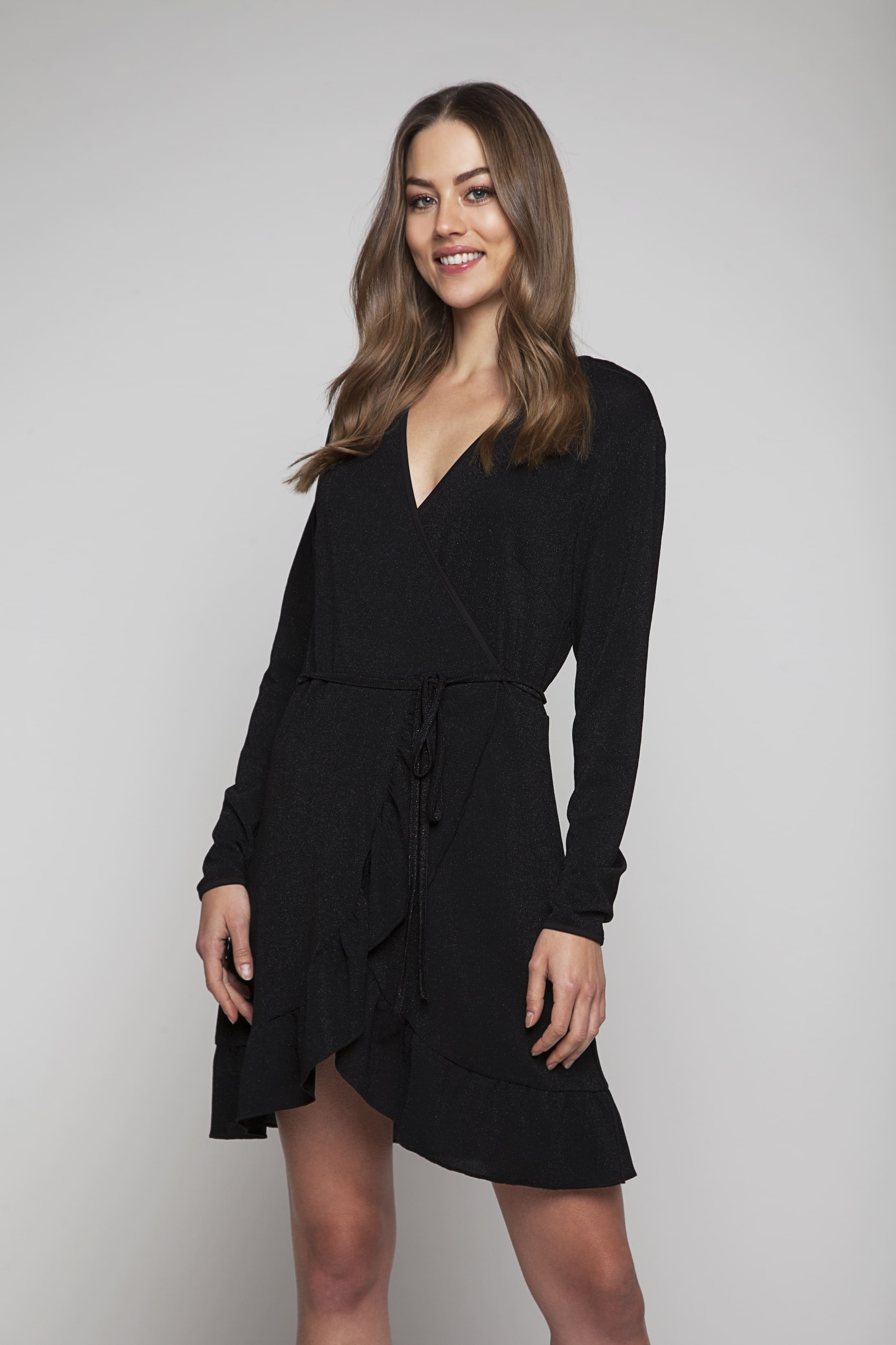 Black glitter wrap dress