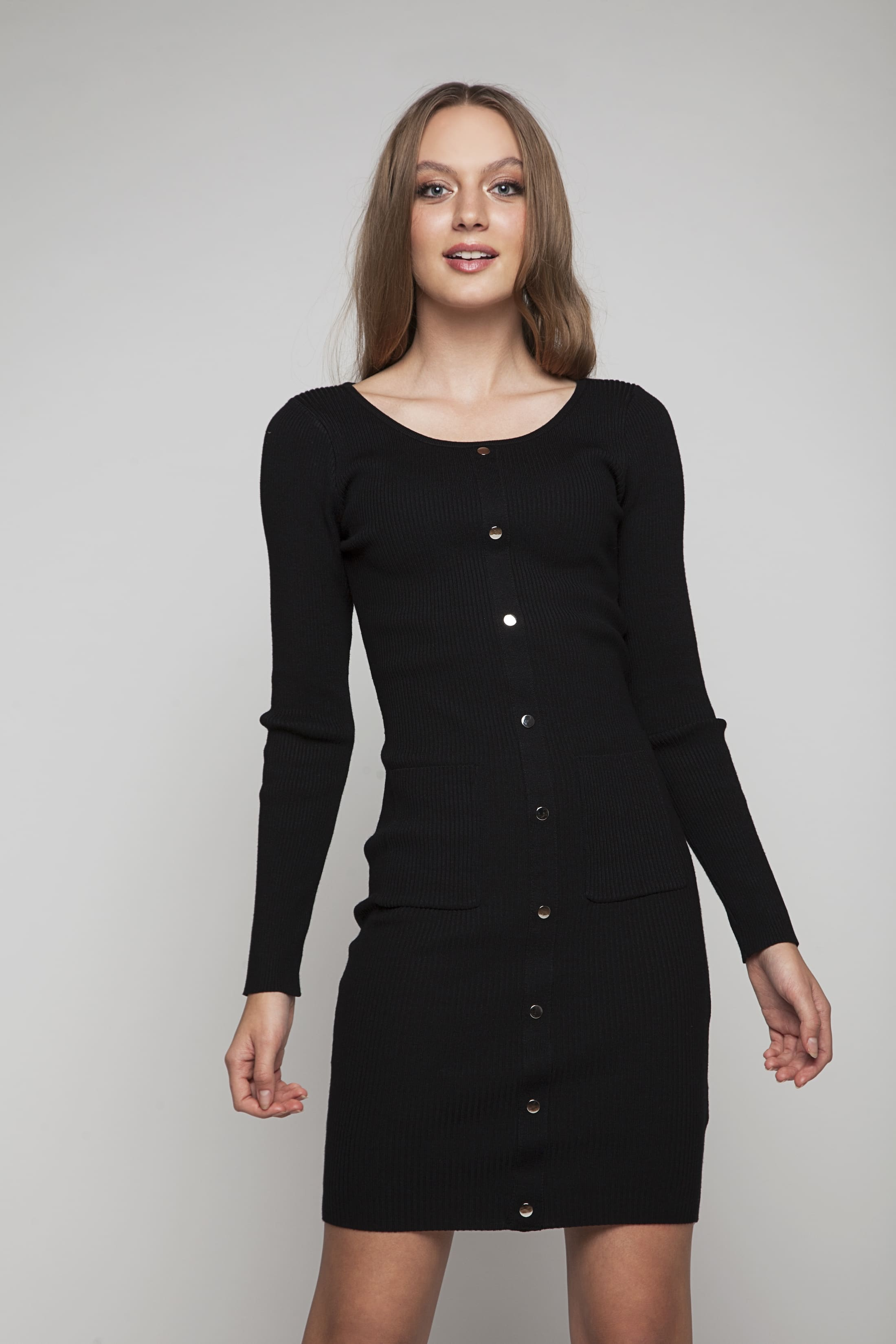 Comfortable knitted dress with silver-colour buttons