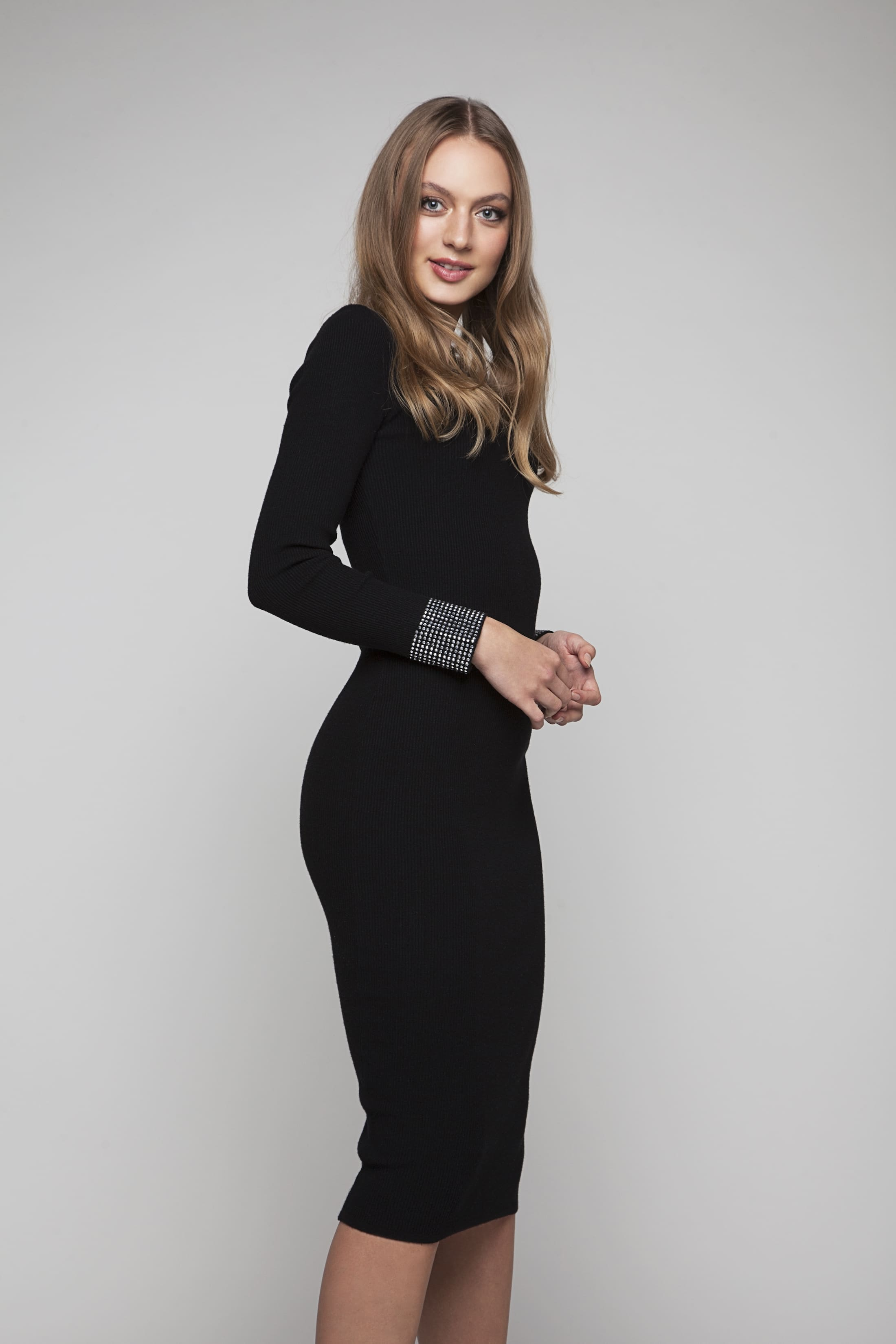 Black knitted dress with silver-colour stones
