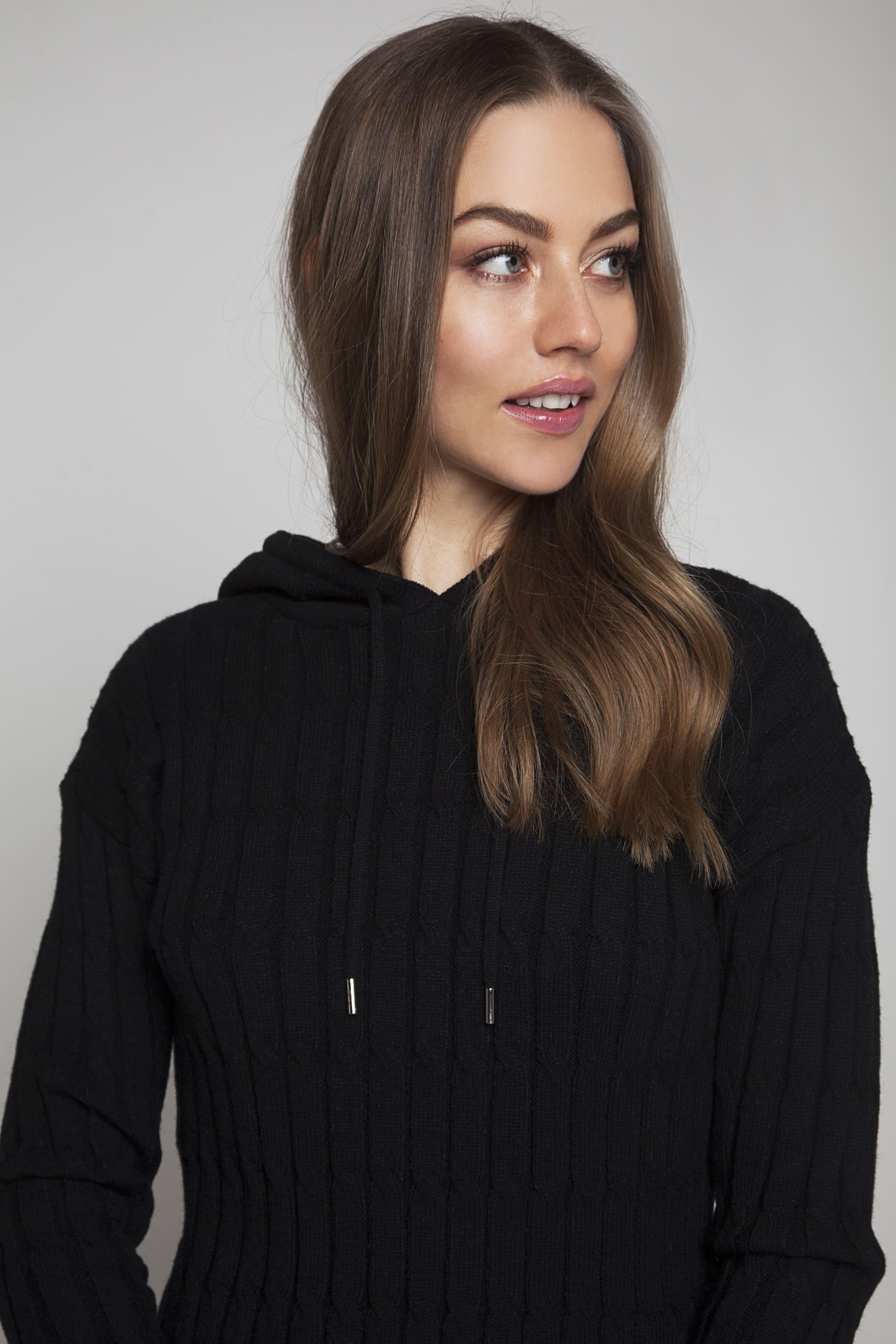 Black soft knitted loungewear sweater