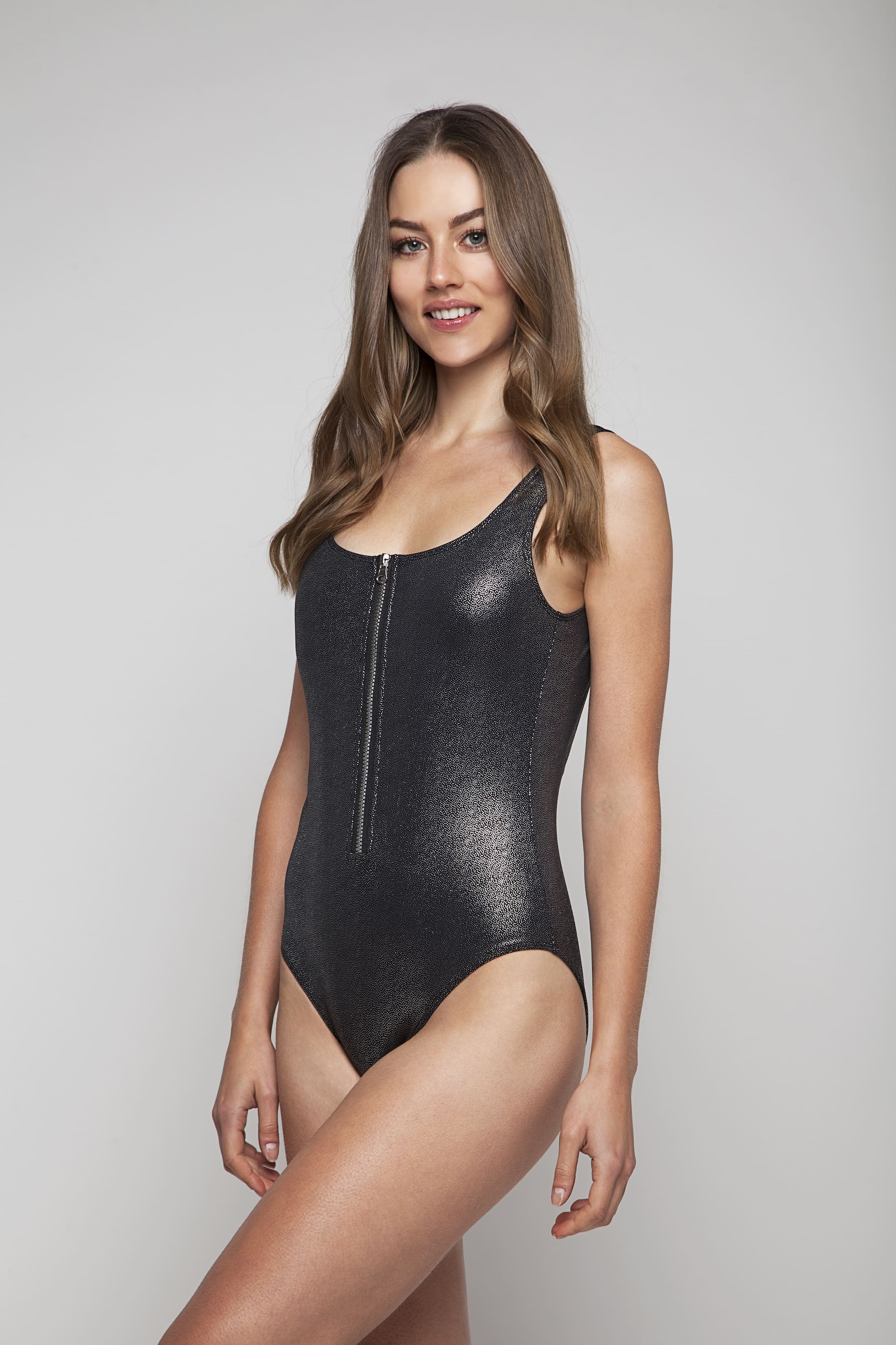 Silver swimsuit with zipper