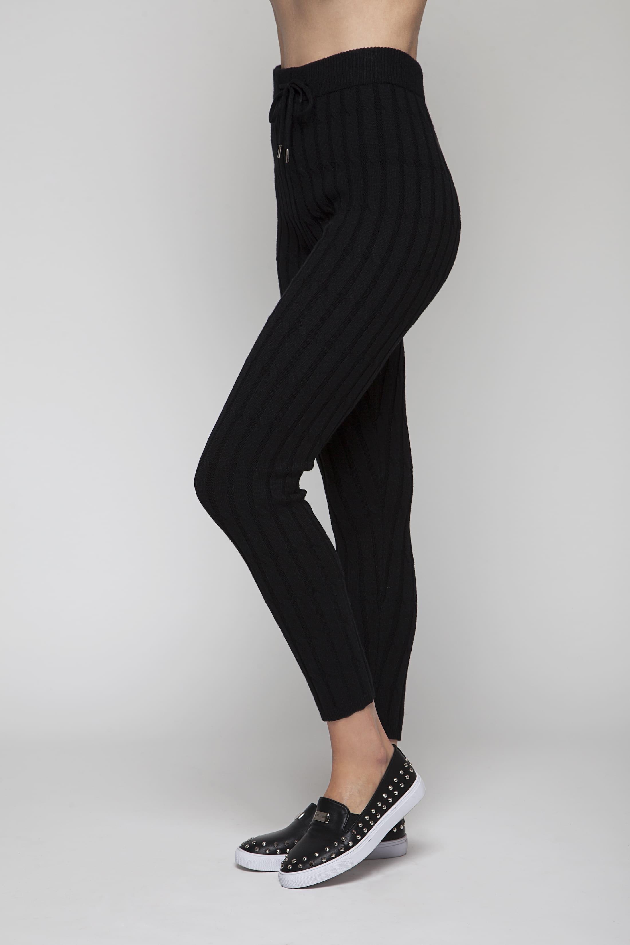 Black soft knitted loungewear pants