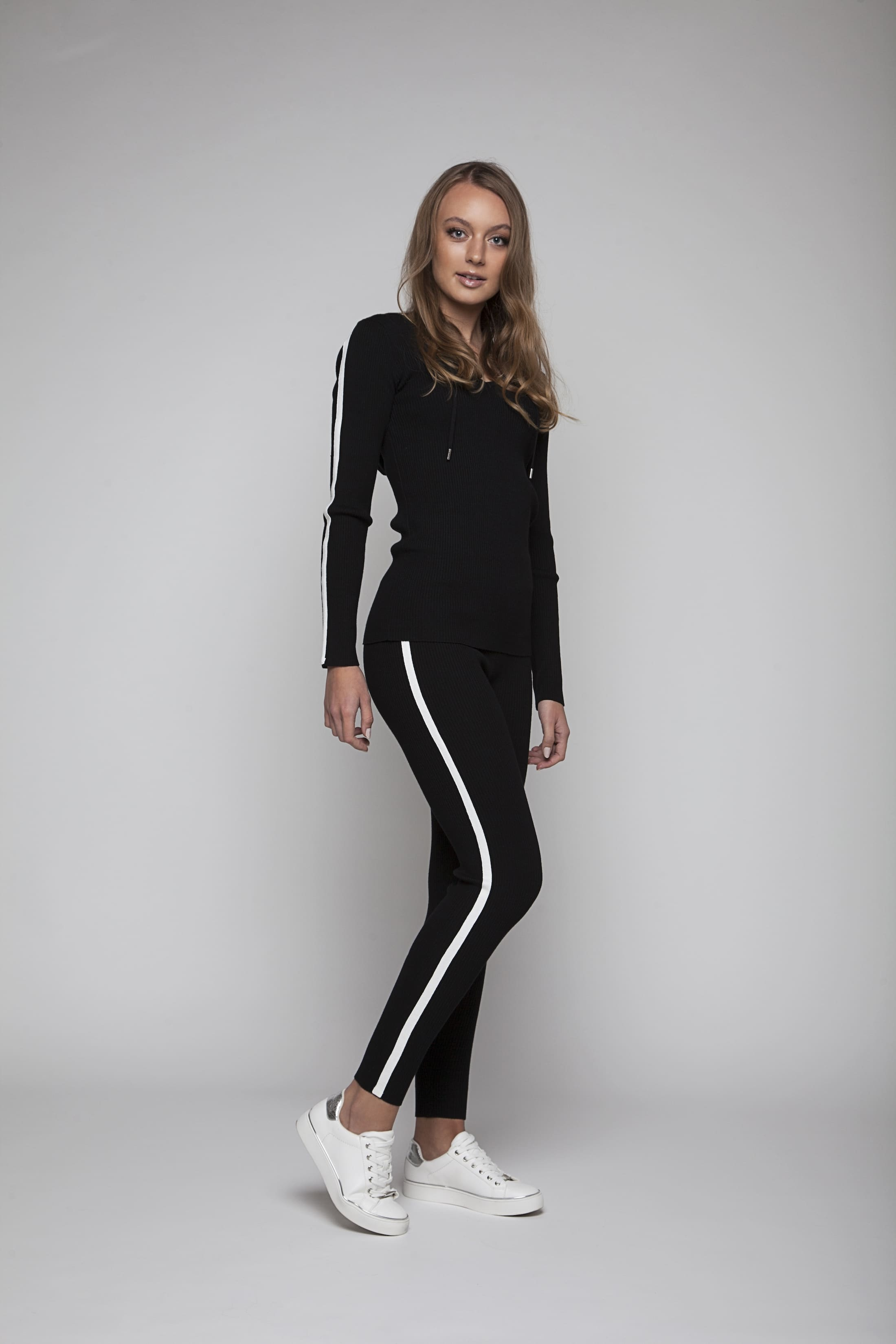 Black loungewear pants with white stripes