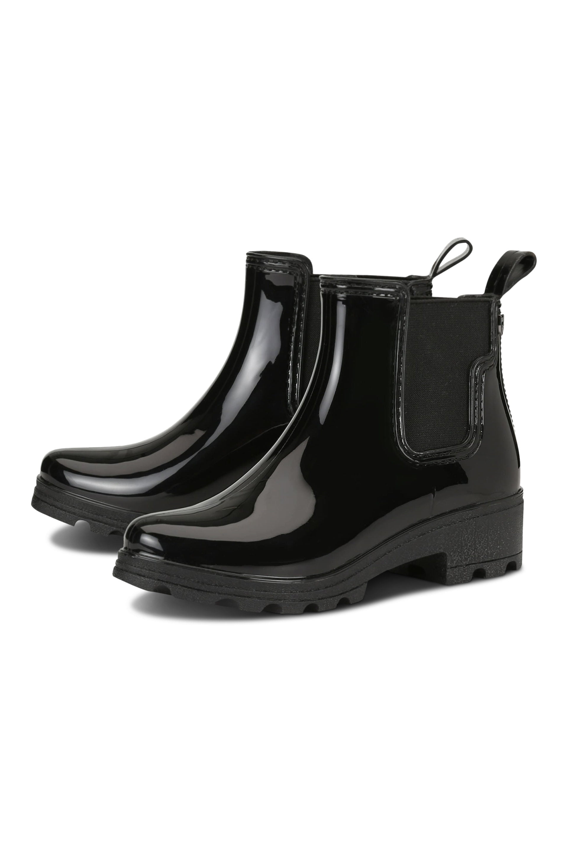Black shiny ankle rainboots