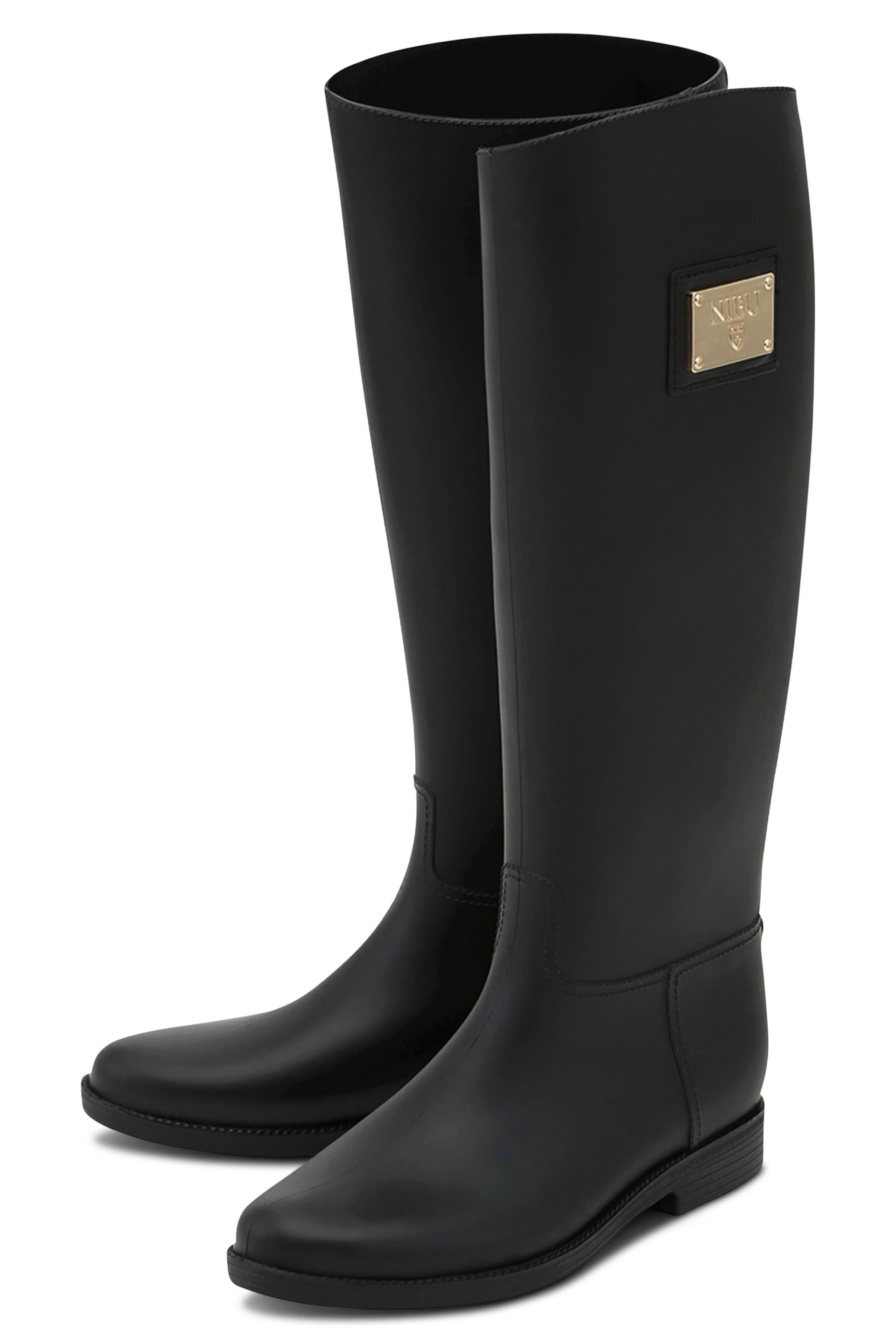 Black rainboots with gold-colour logo