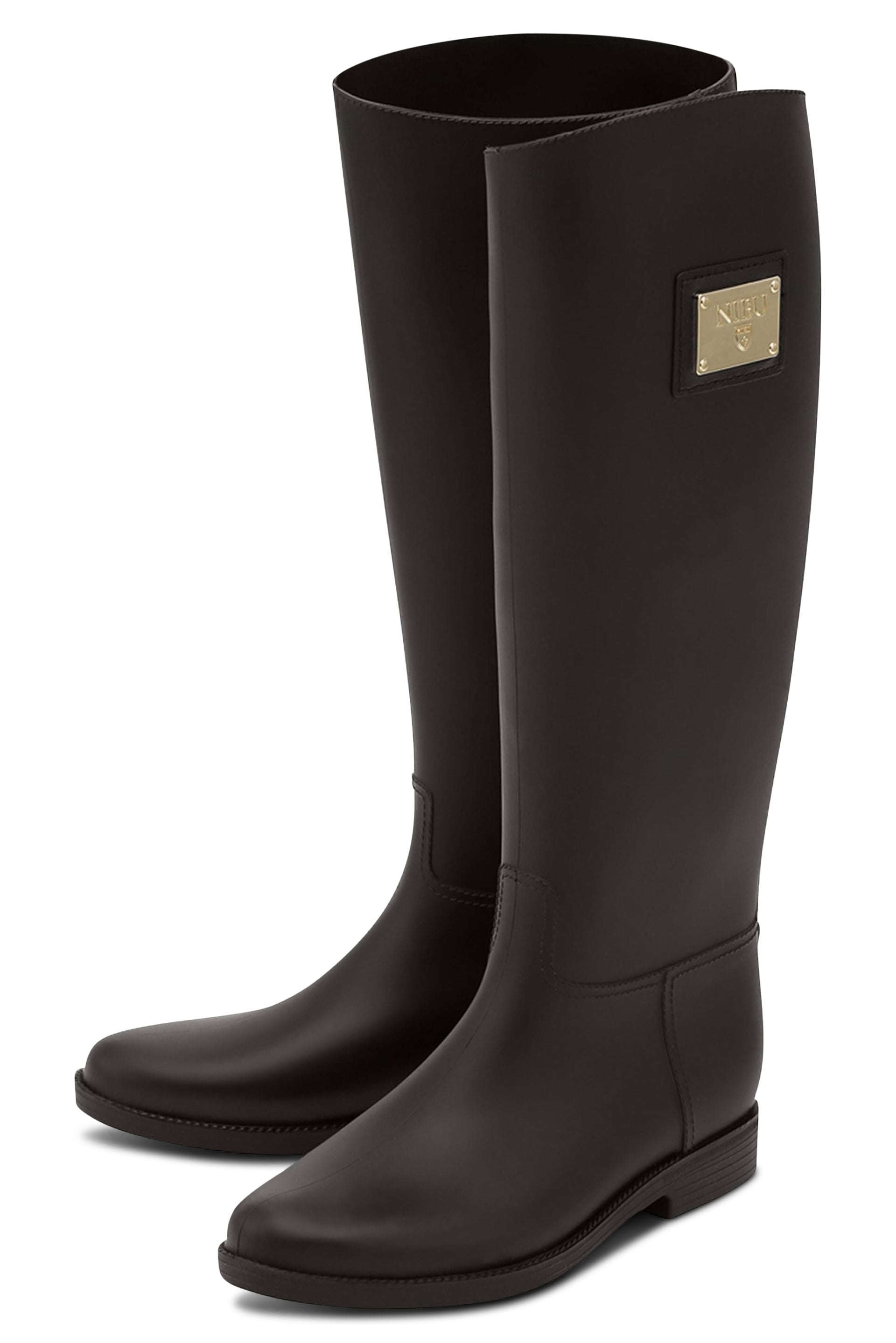 Brown rainboots with gold-colour logo