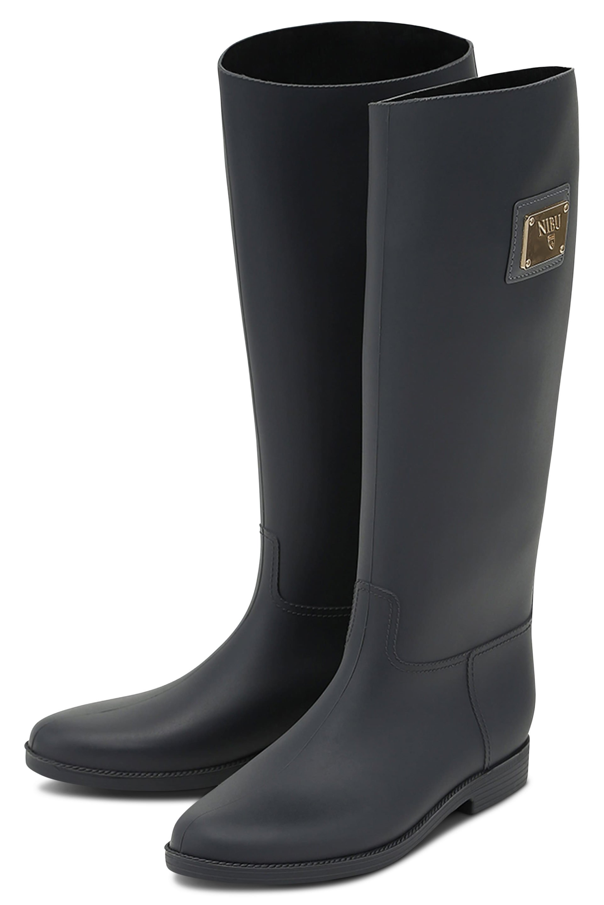 Grey rainboots with gold-colour logo