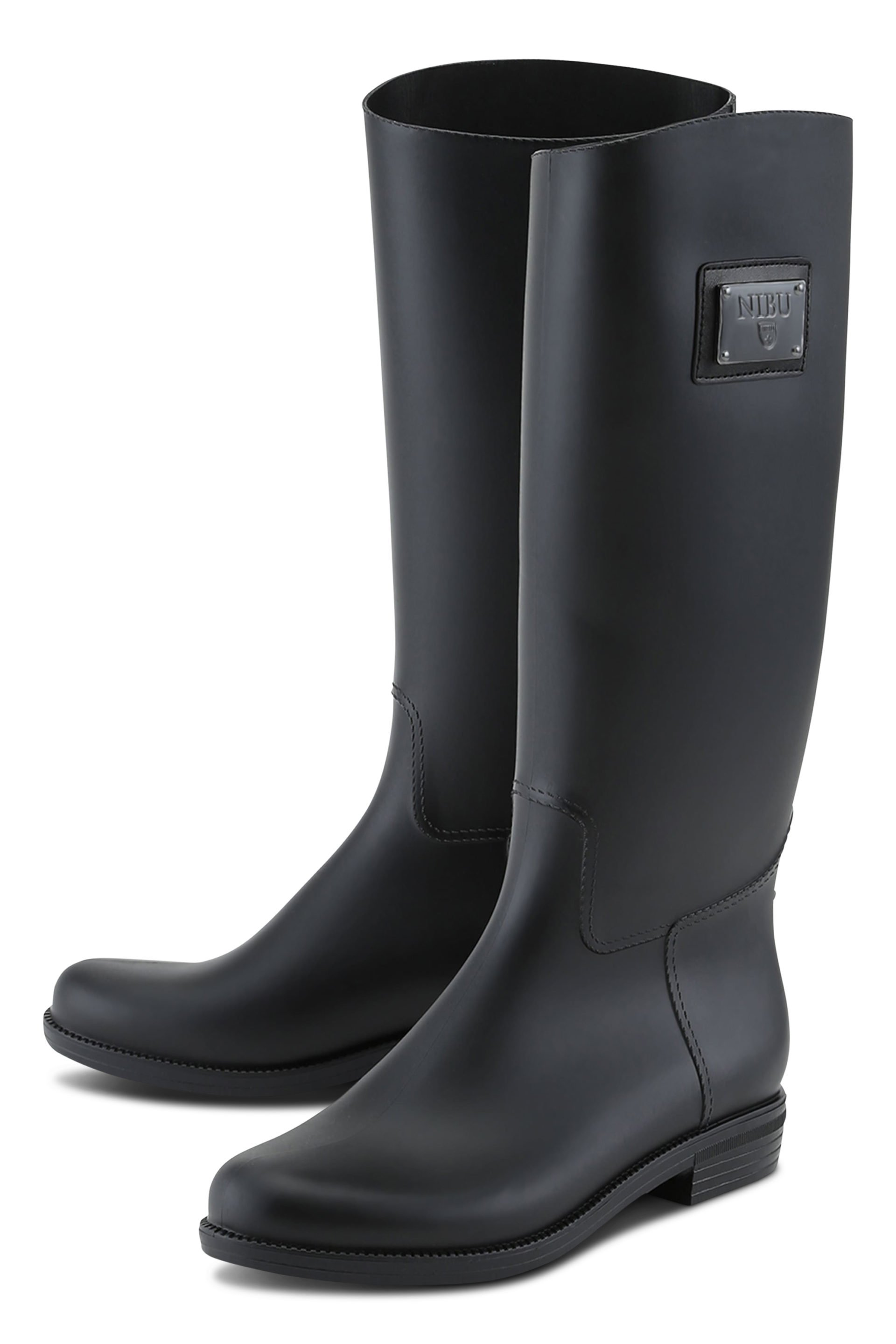 Black rainboots with black logo plate