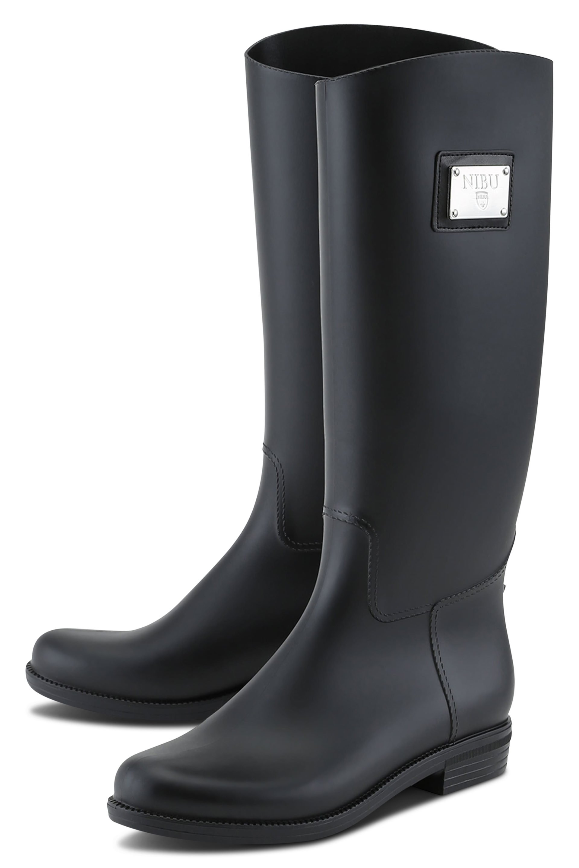 Black rainboots with silver logo plate