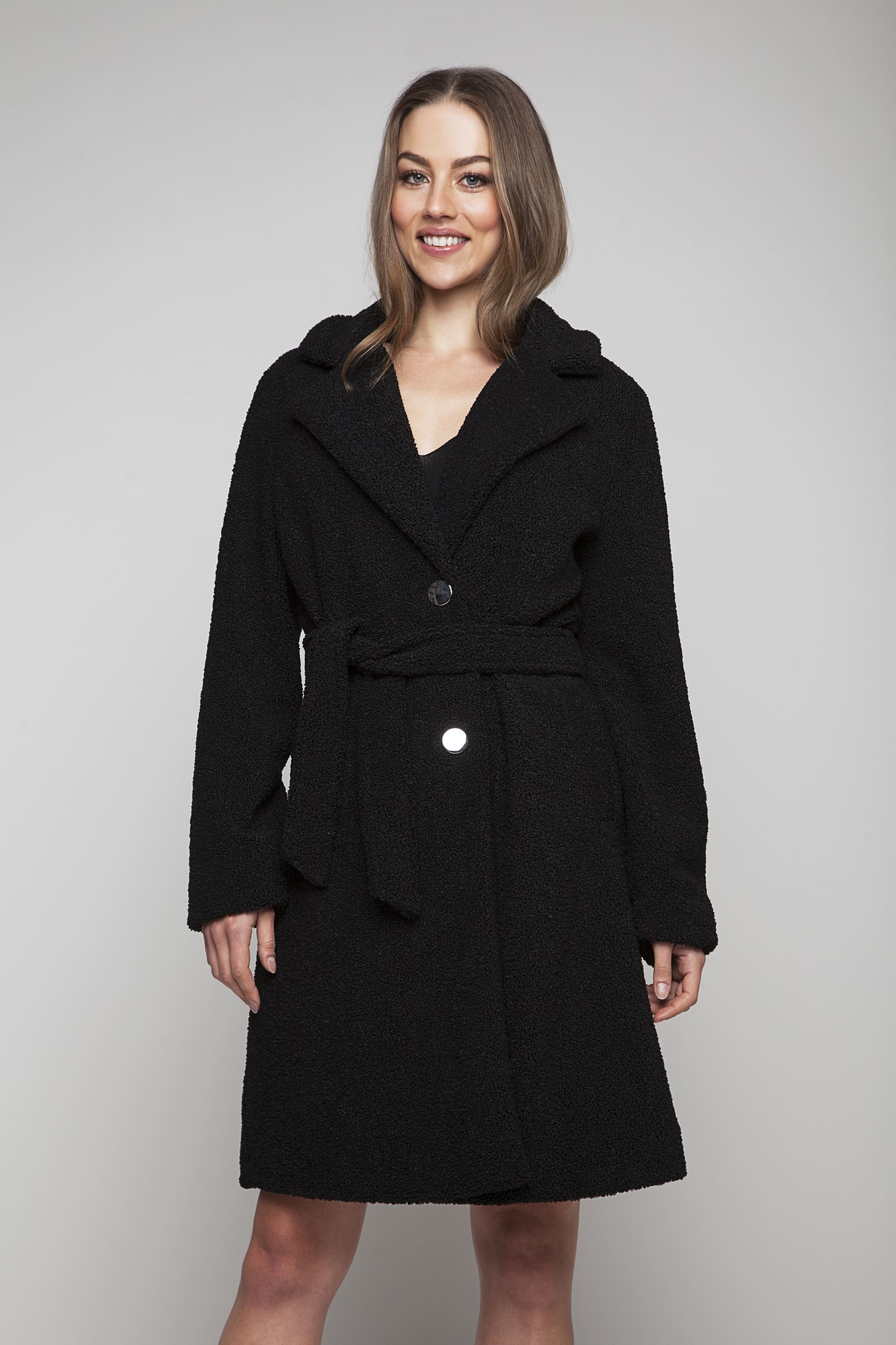 Long soft jacket with silver-coloured buttons