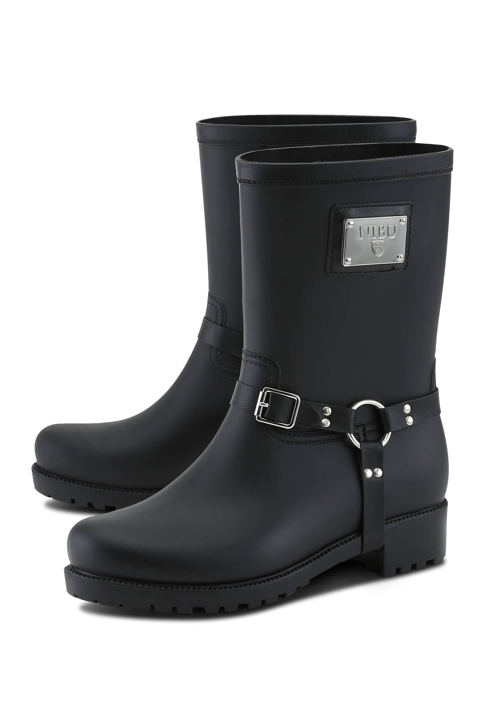 Biker rainboots with silver-colour logo