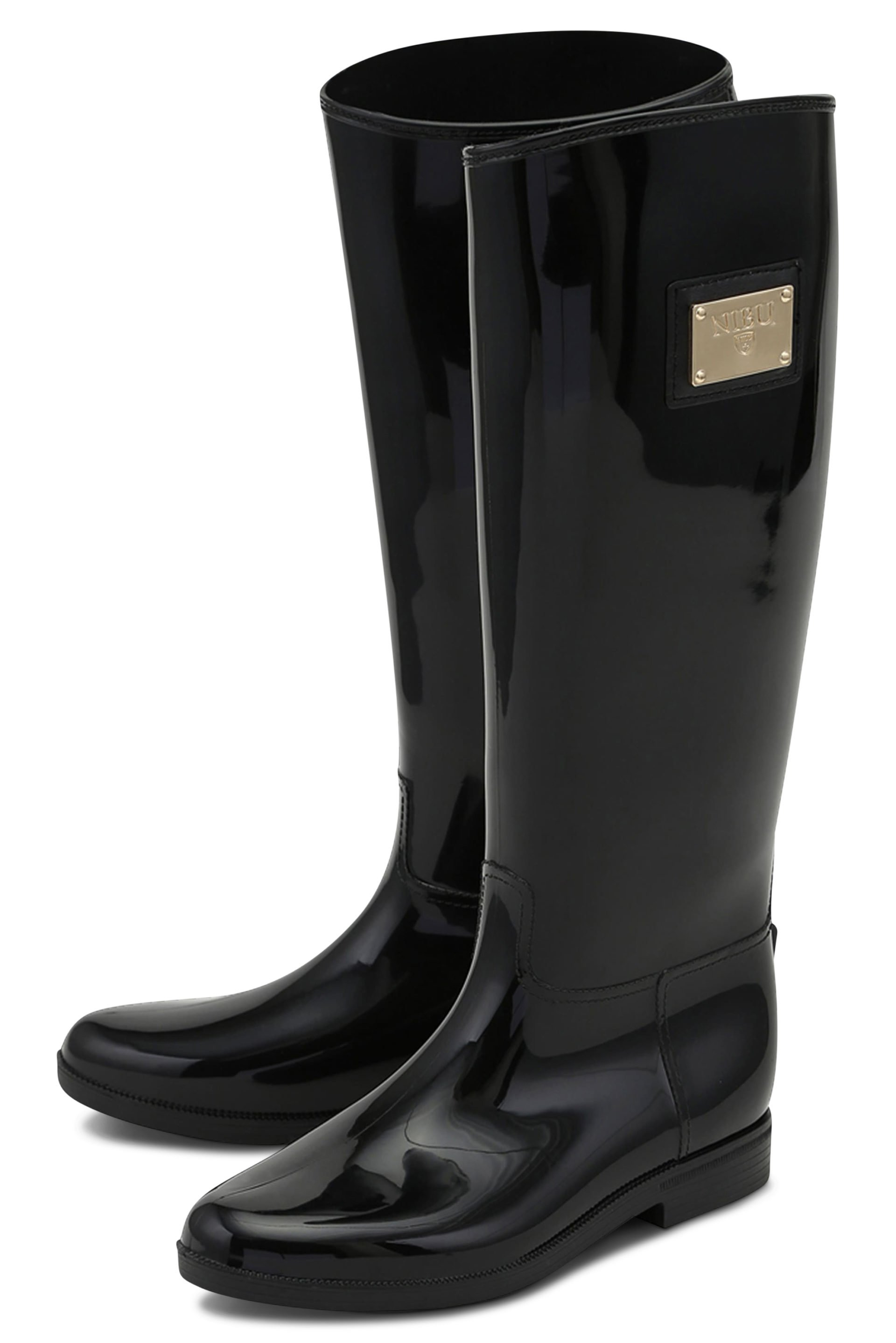 Black hi-shine rainboots with gold-colour logo
