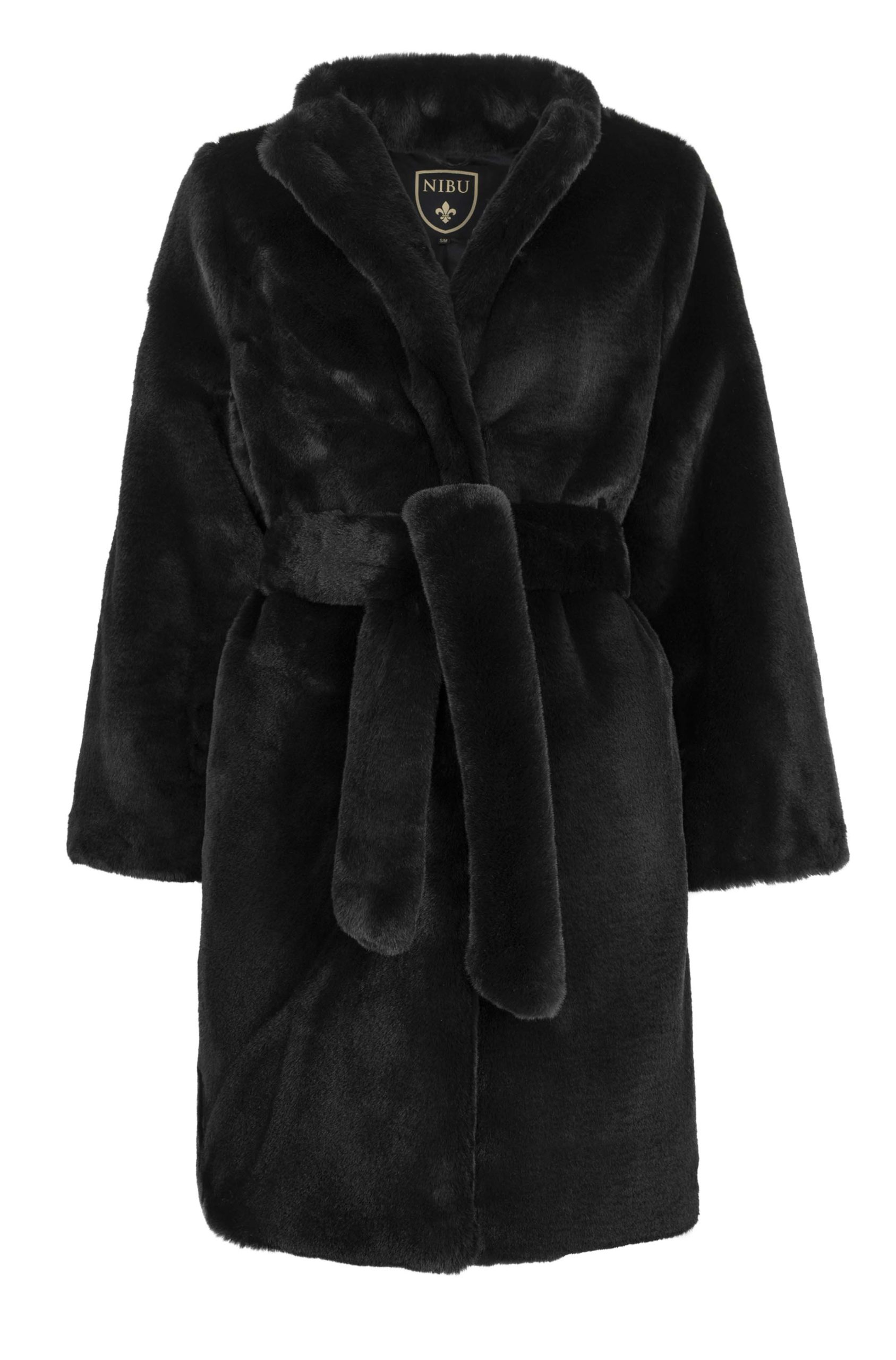Stunning black faux-fur long jacket (Limited edition)
